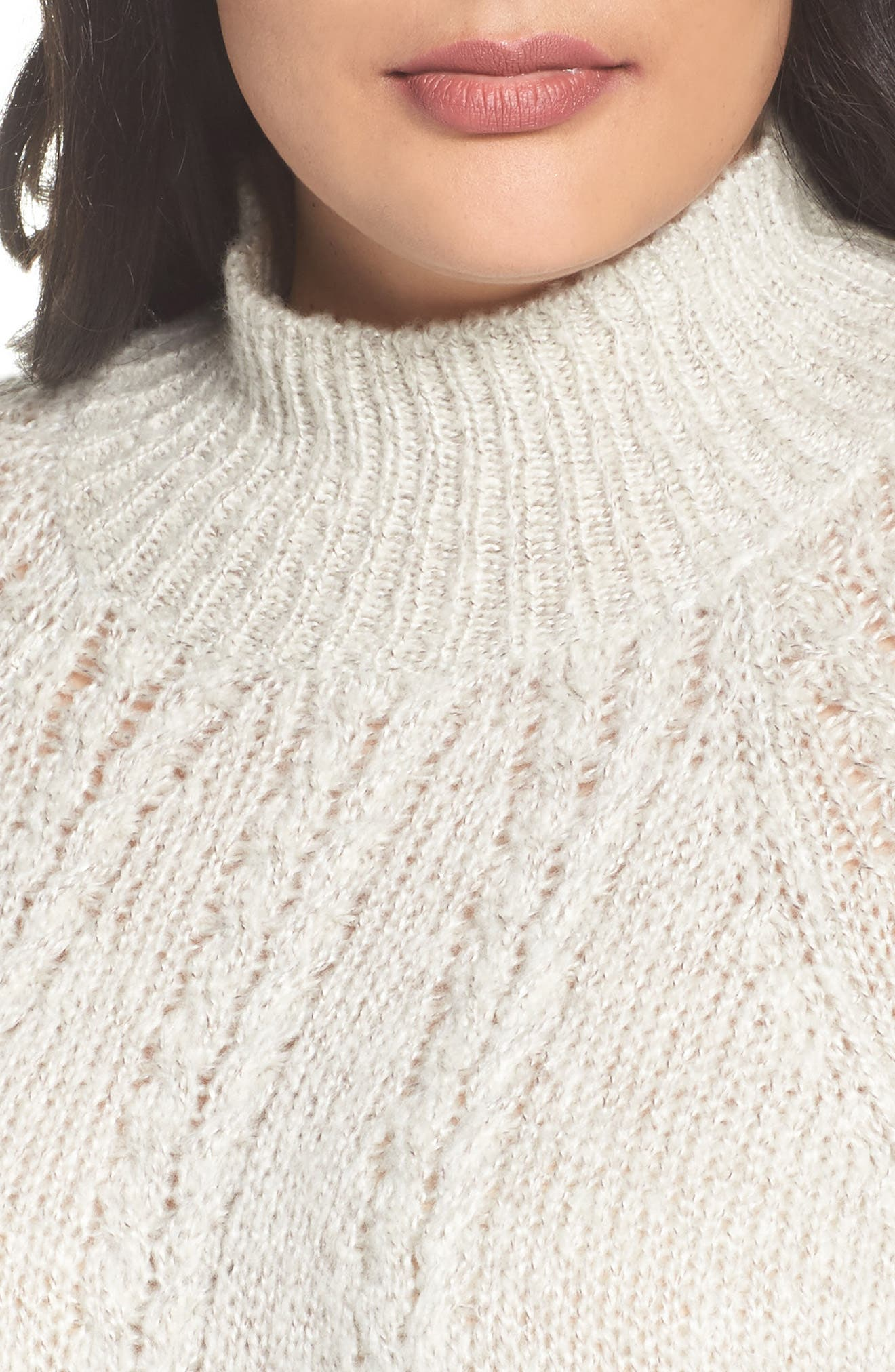 Cable Knit Tunic Sweater,                             Alternate thumbnail 4, color,                             BEIGE OATMEAL LIGHT HEATHER