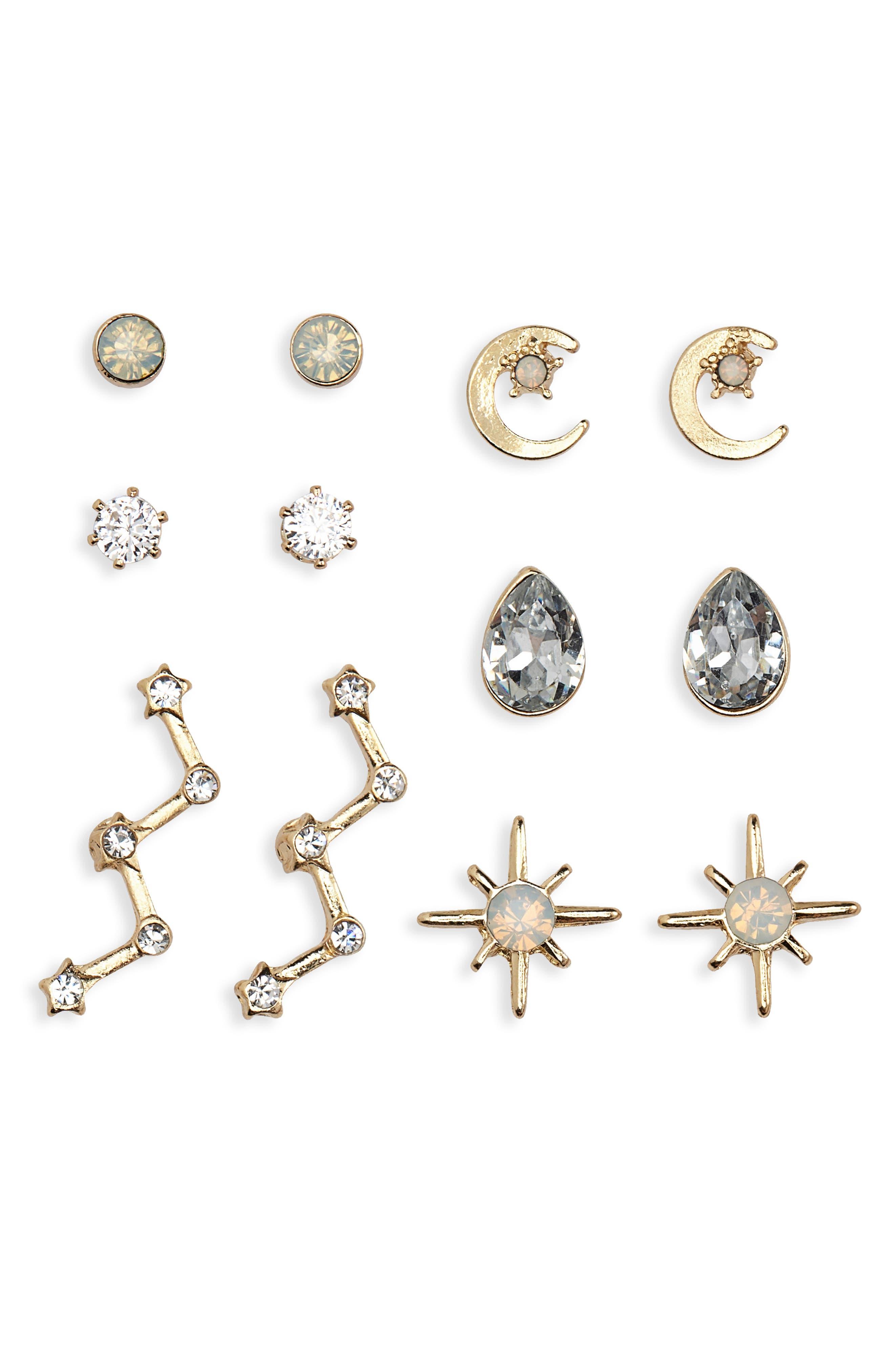 Set of 6 Moon & Star Stud Earrings,                             Main thumbnail 1, color,                             710