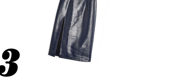 Croc-embossed pencil skirt.