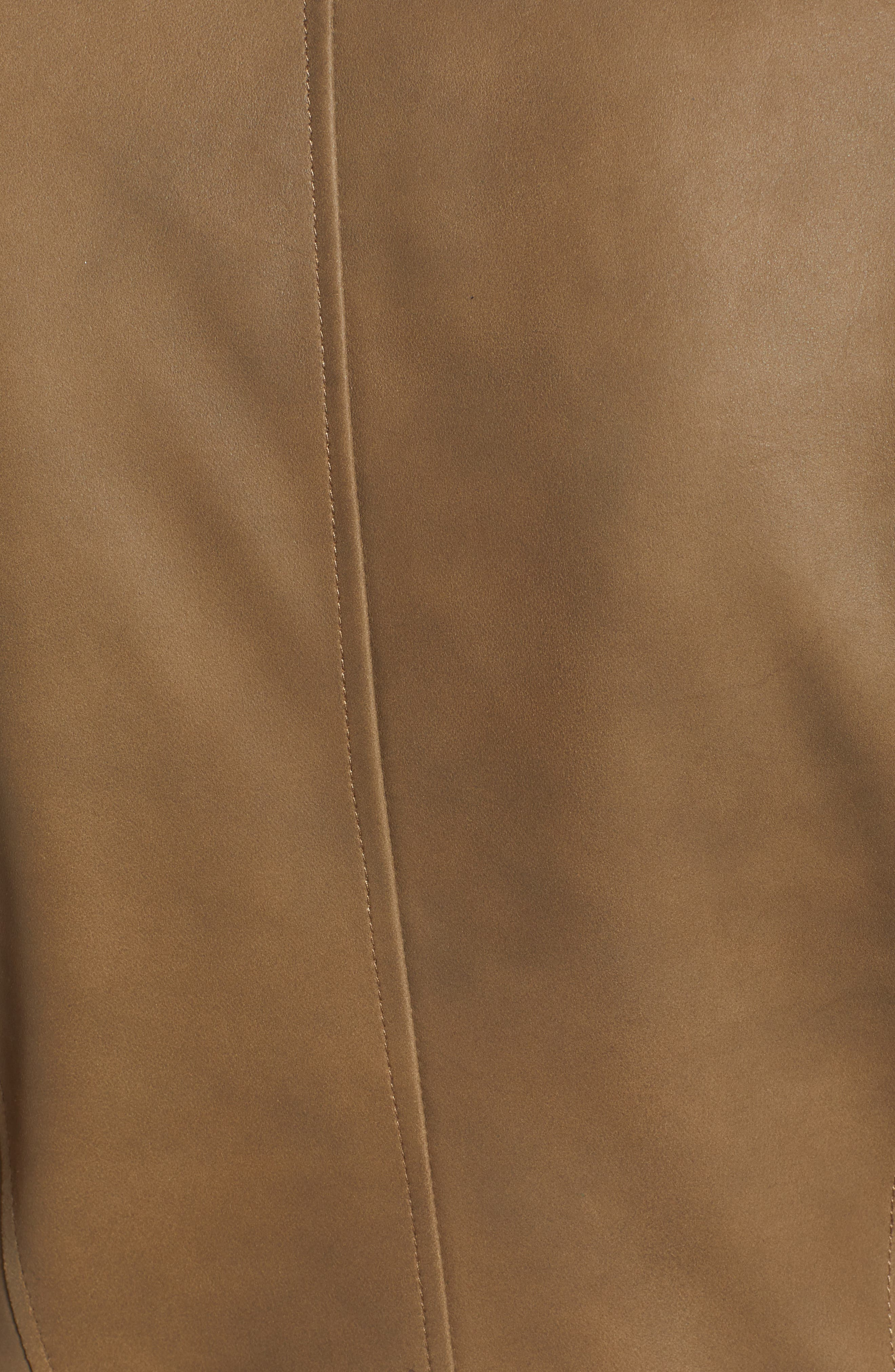 Asymmetrical Zip Front Leather Cascade Jacket,                             Alternate thumbnail 6, color,                             TAUPE