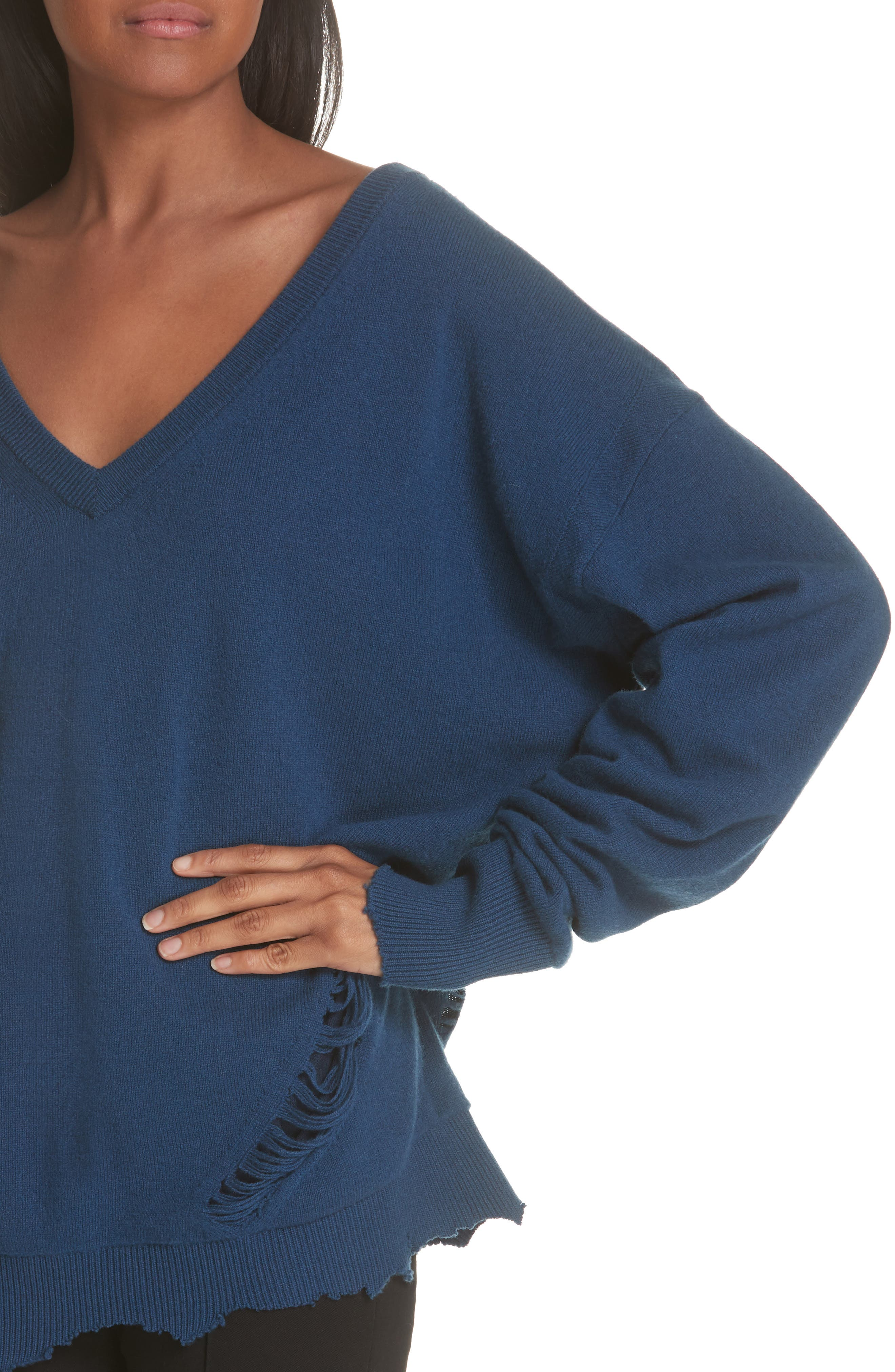 Distressed Wool Sweater,                             Alternate thumbnail 4, color,                             400
