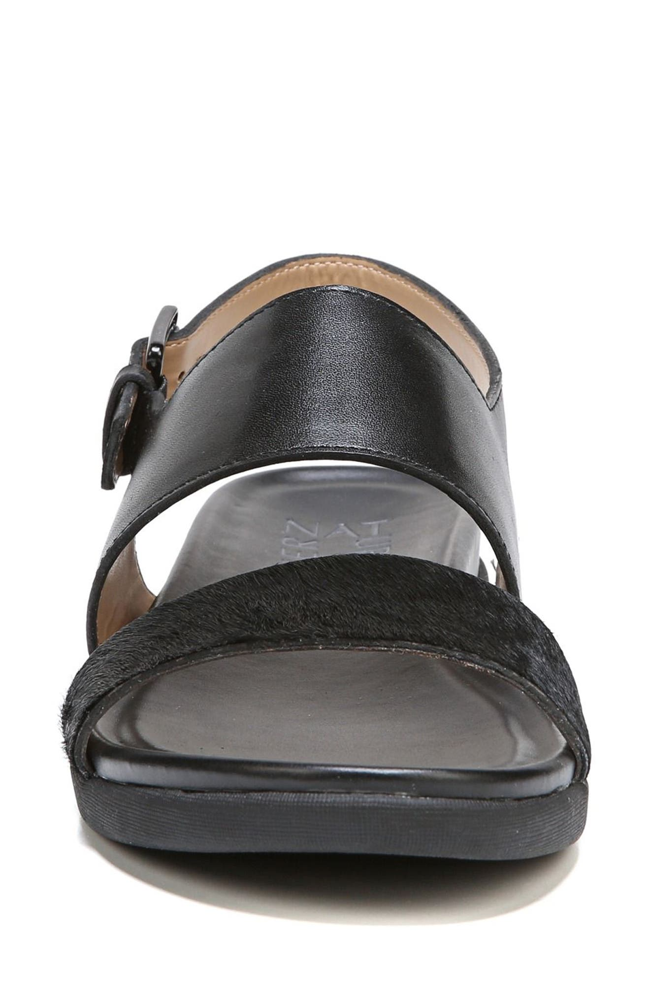 Emory Wedge Sandal,                             Alternate thumbnail 4, color,                             BLACK LEATHER