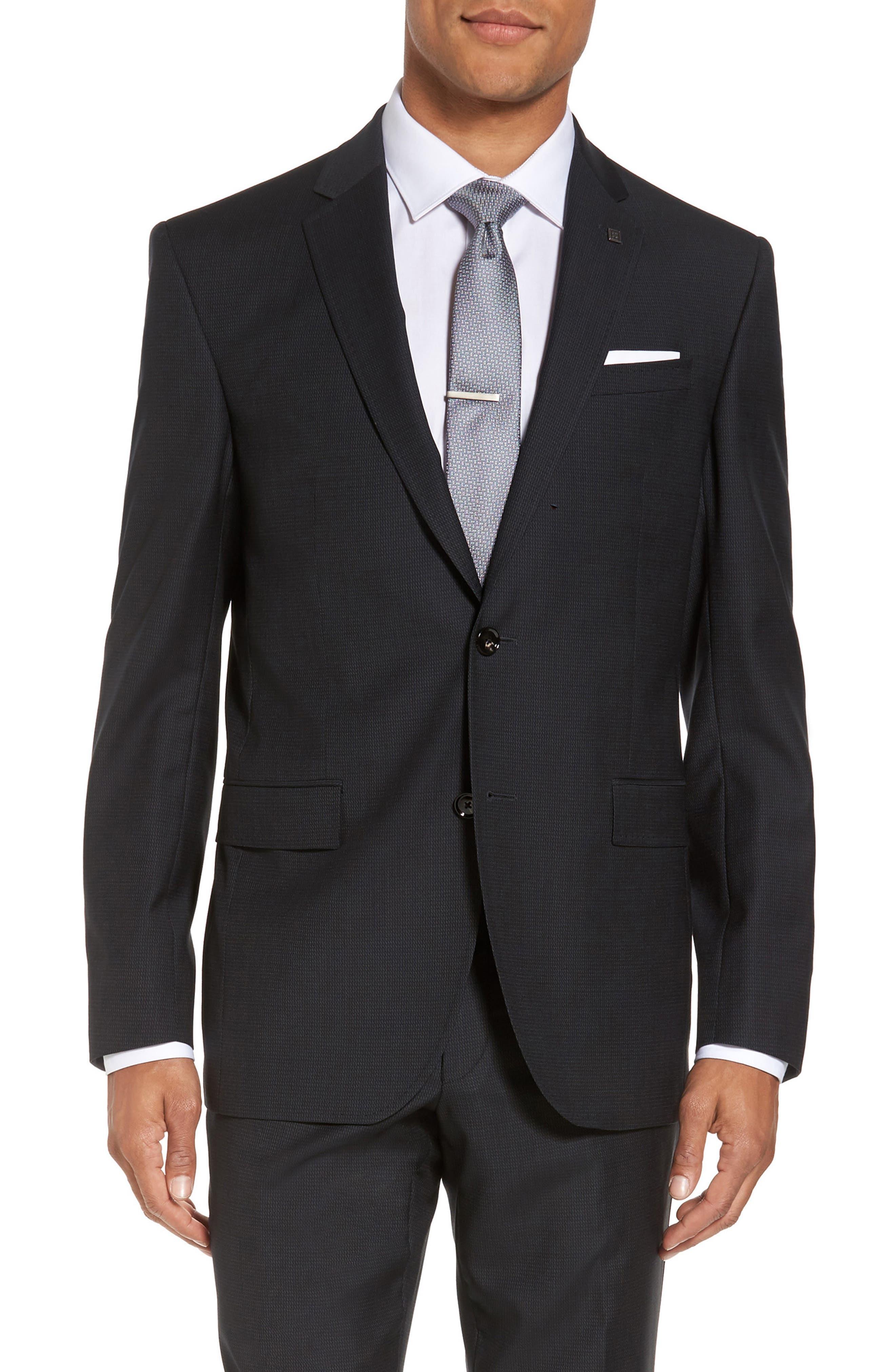 Jay Trim Fit Solid Wool Suit,                             Alternate thumbnail 5, color,                             001