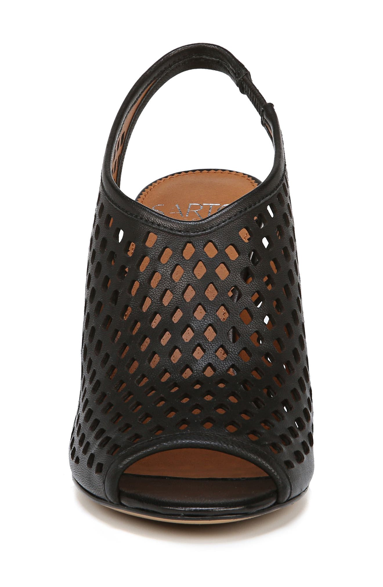 Osbourne Perforated Slingback Sandal,                             Alternate thumbnail 4, color,                             BLACK LEATHER