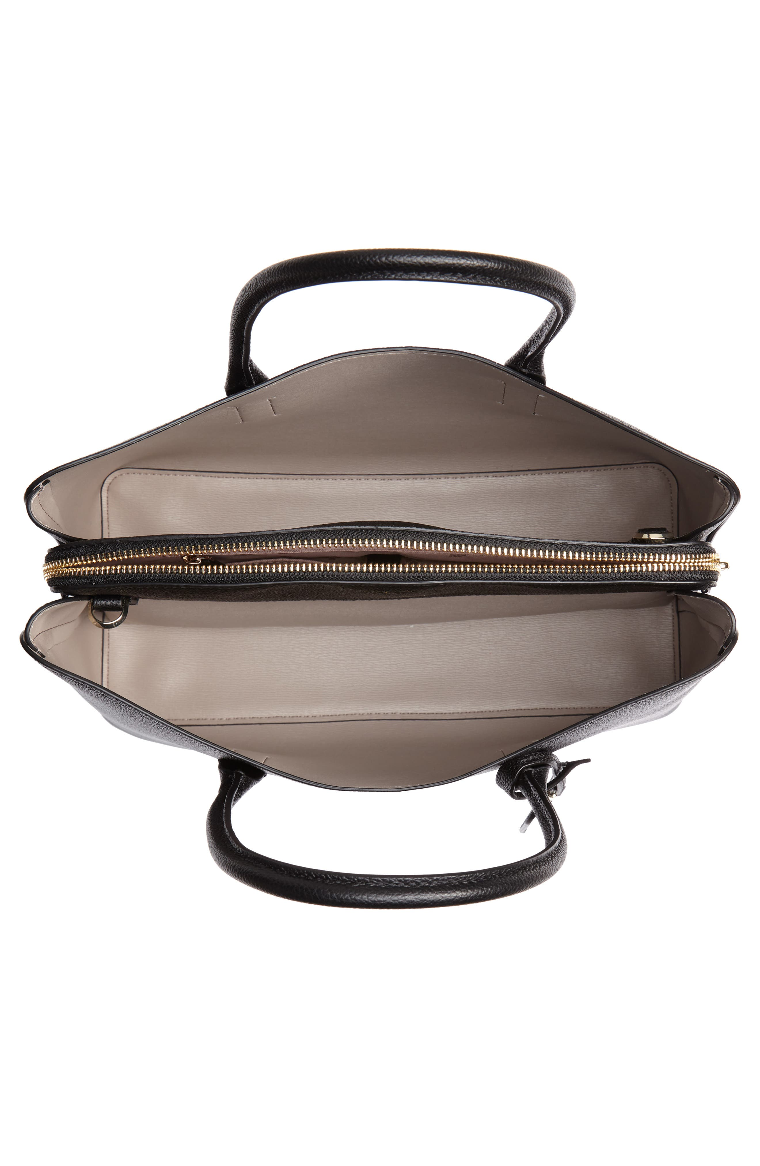 KATE SPADE NEW YORK,                             large margaux leather satchel,                             Alternate thumbnail 4, color,                             BLACK