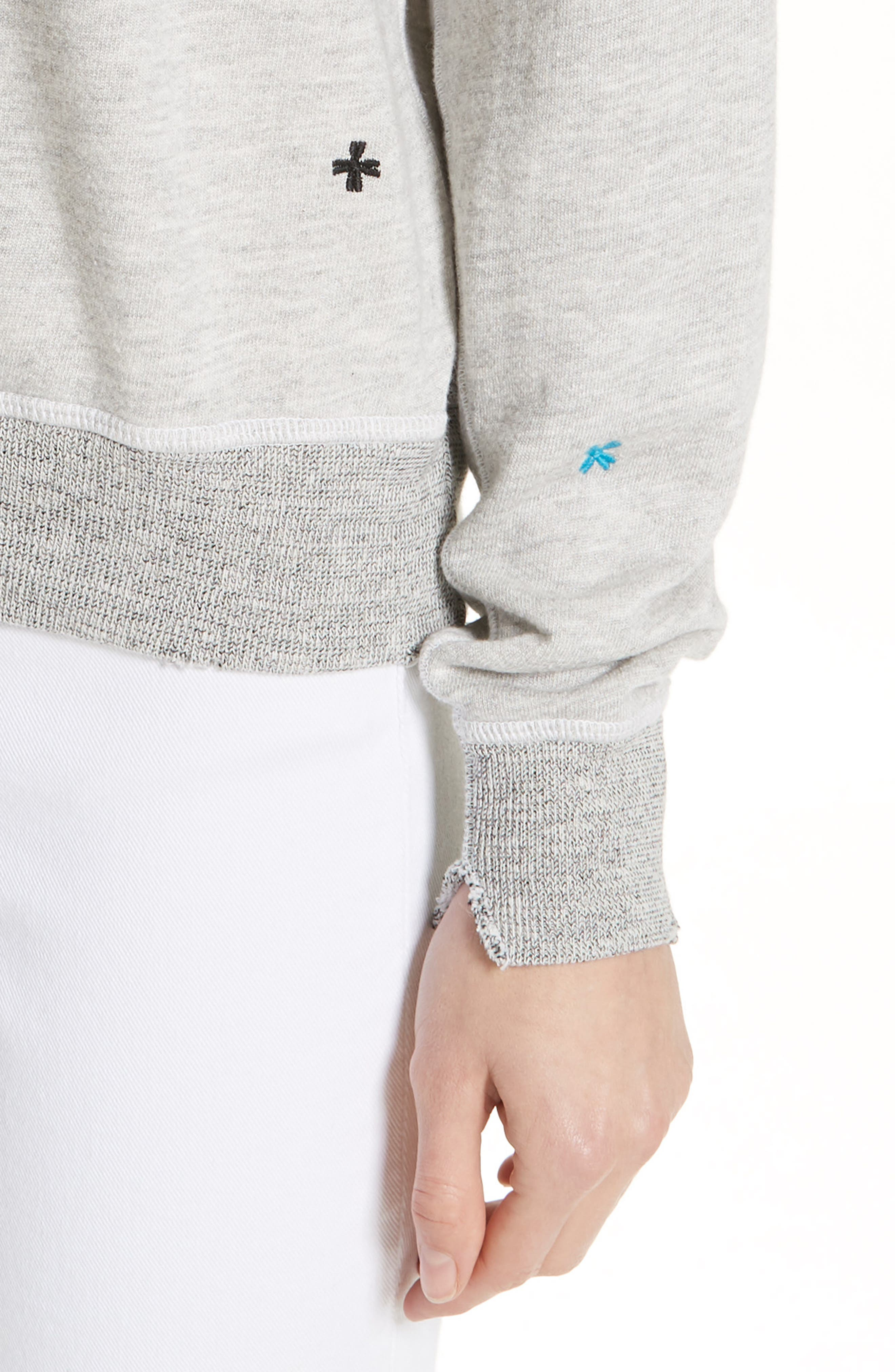 The College Embroidered Sweatshirt,                             Alternate thumbnail 4, color,                             HEATHER GREY/ MULTI