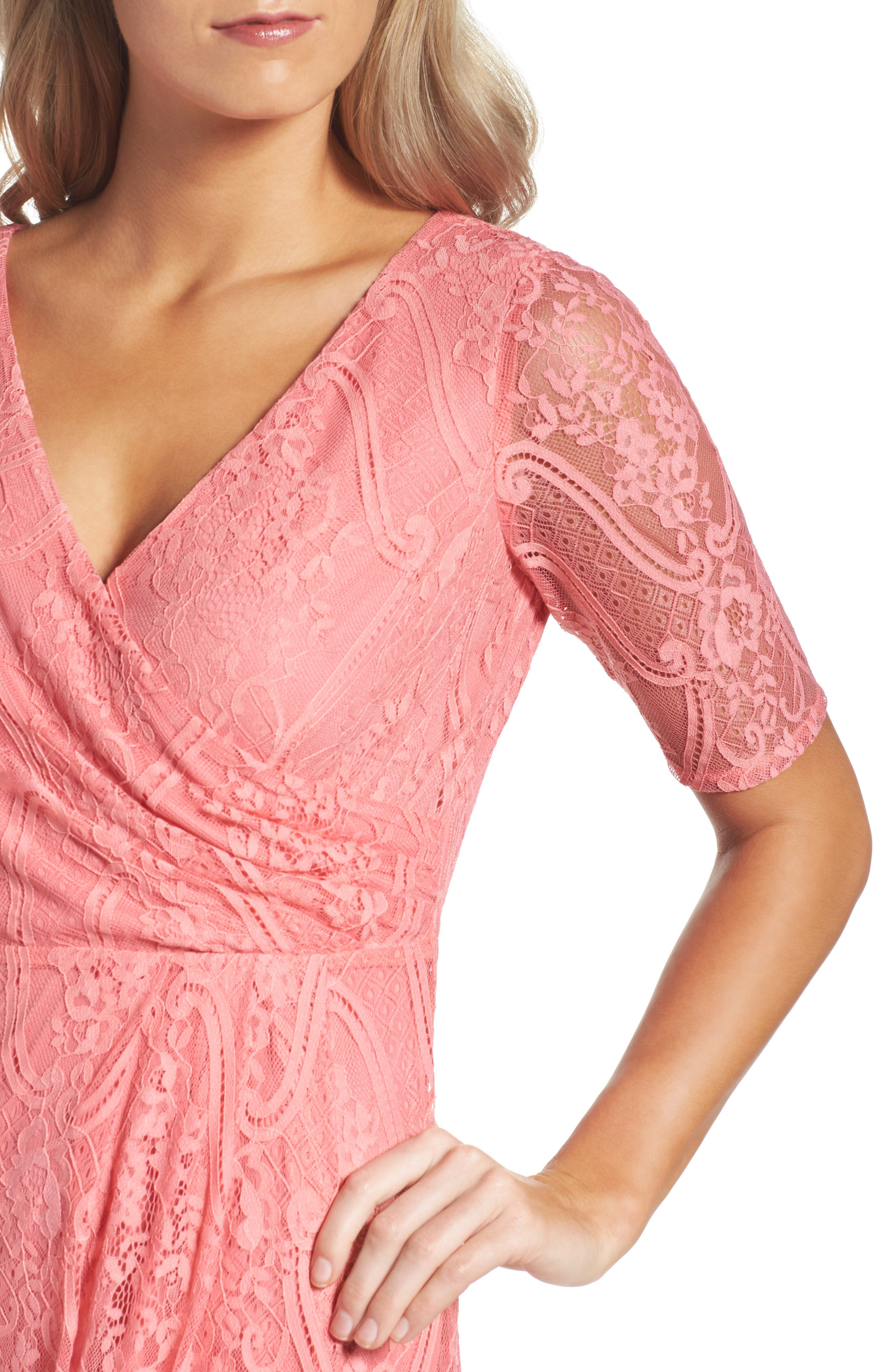 Lace Faux Wrap Gown,                             Alternate thumbnail 4, color,                             655