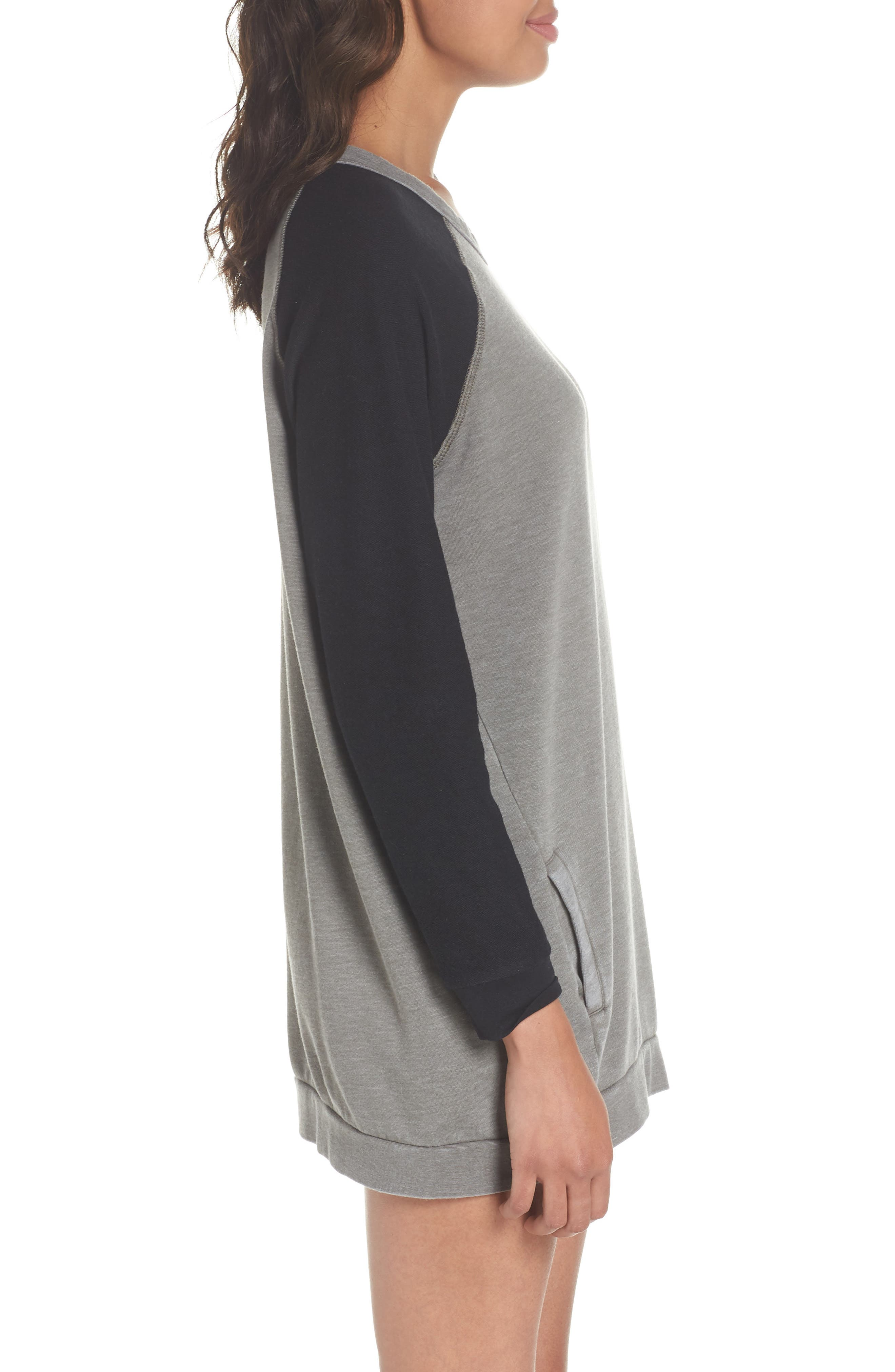 Lounge Sweatshirt Dress,                             Alternate thumbnail 3, color,                             001