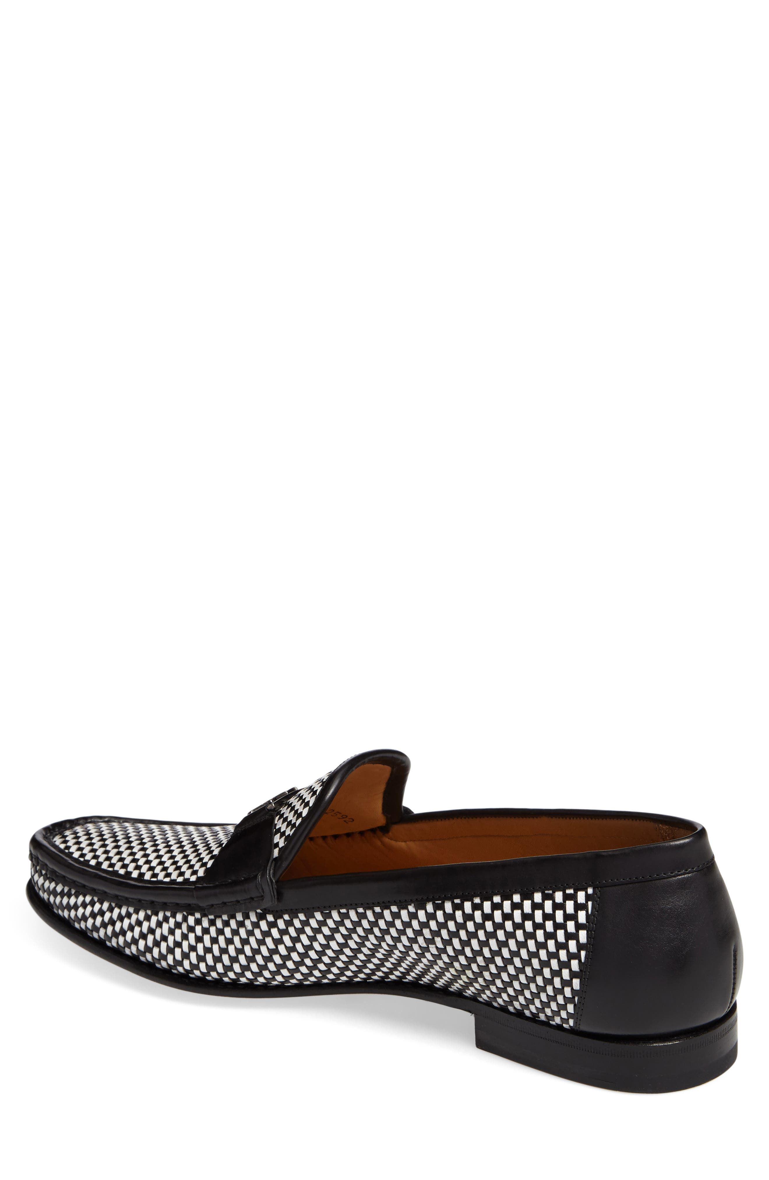 Hallman Woven Loafer,                             Alternate thumbnail 2, color,                             BLACK/ WHITE LEATHER