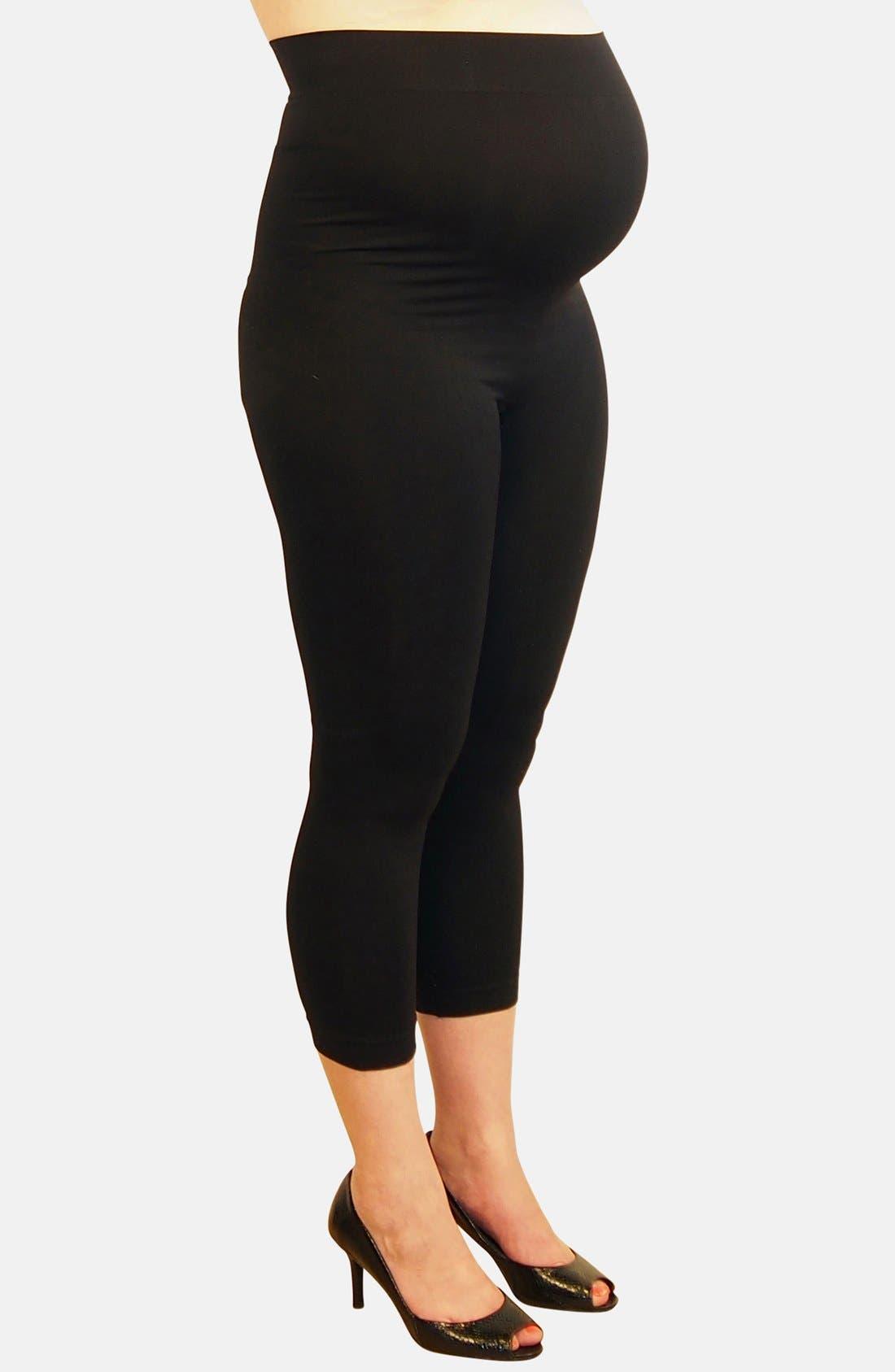 2-Pack Seamless Maternity Capri Leggings,                             Alternate thumbnail 4, color,                             BLACK