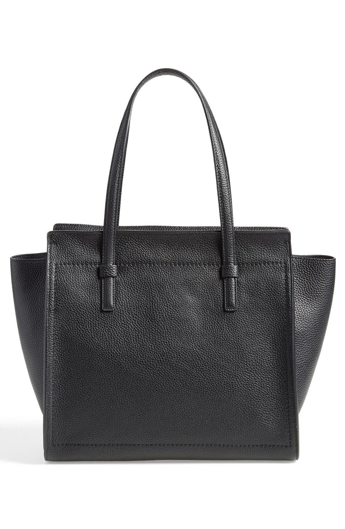 Medium Amy Calfskin Leather Tote,                             Alternate thumbnail 5, color,                             001