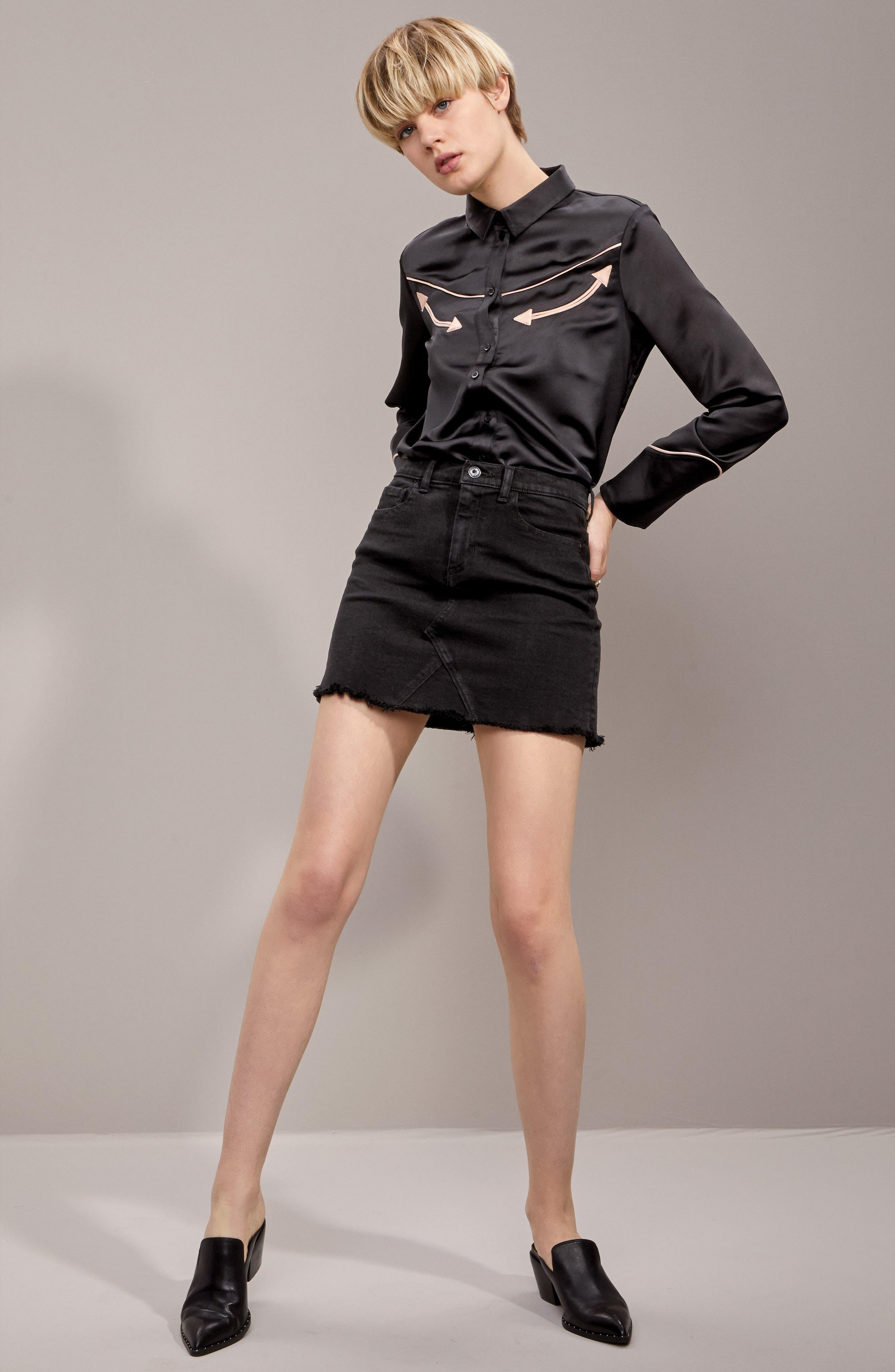 Stretch Denim Miniskirt,                             Alternate thumbnail 7, color,                             001
