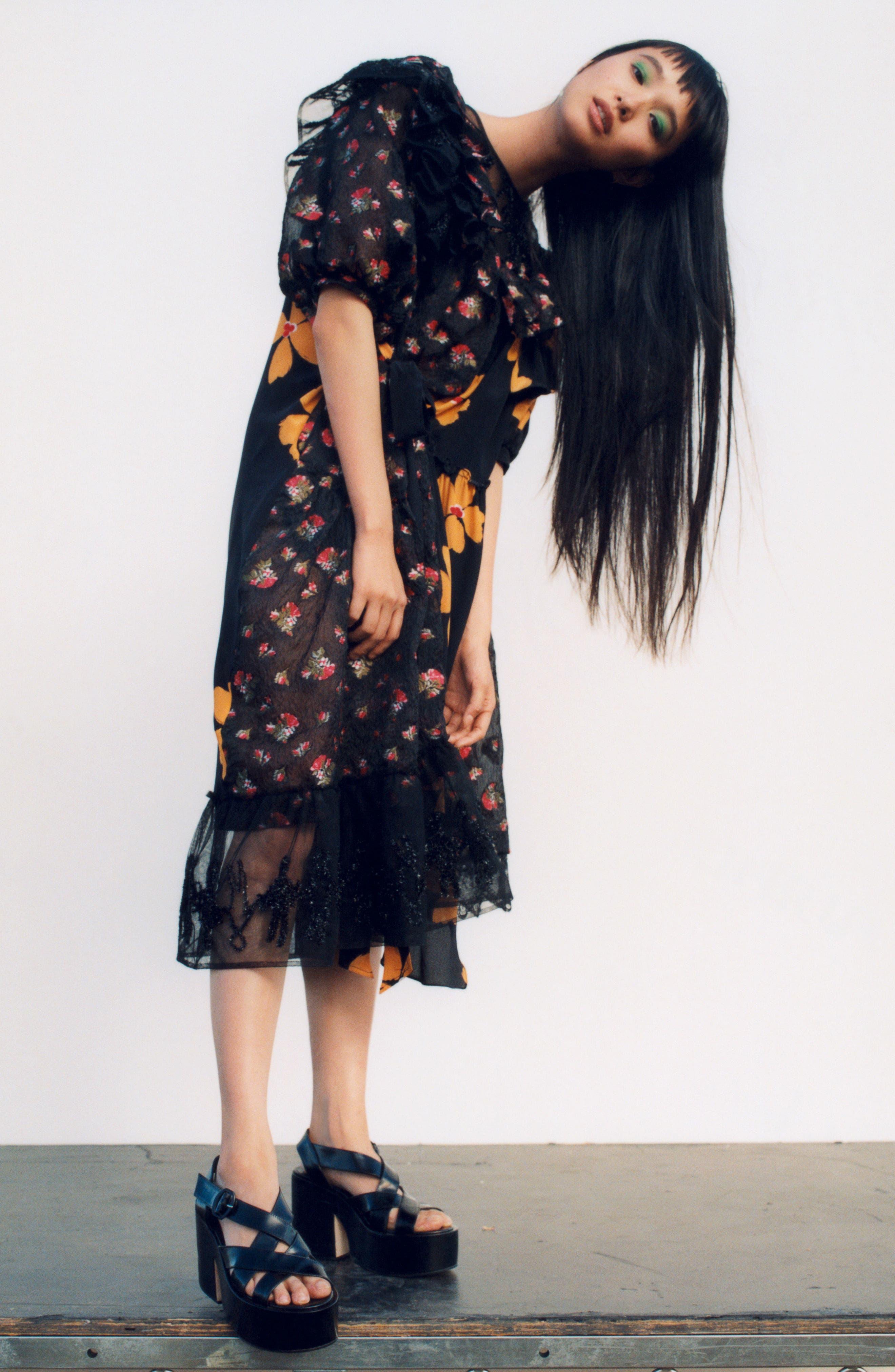 Frill Patchwork Dress,                             Alternate thumbnail 7, color,                             001