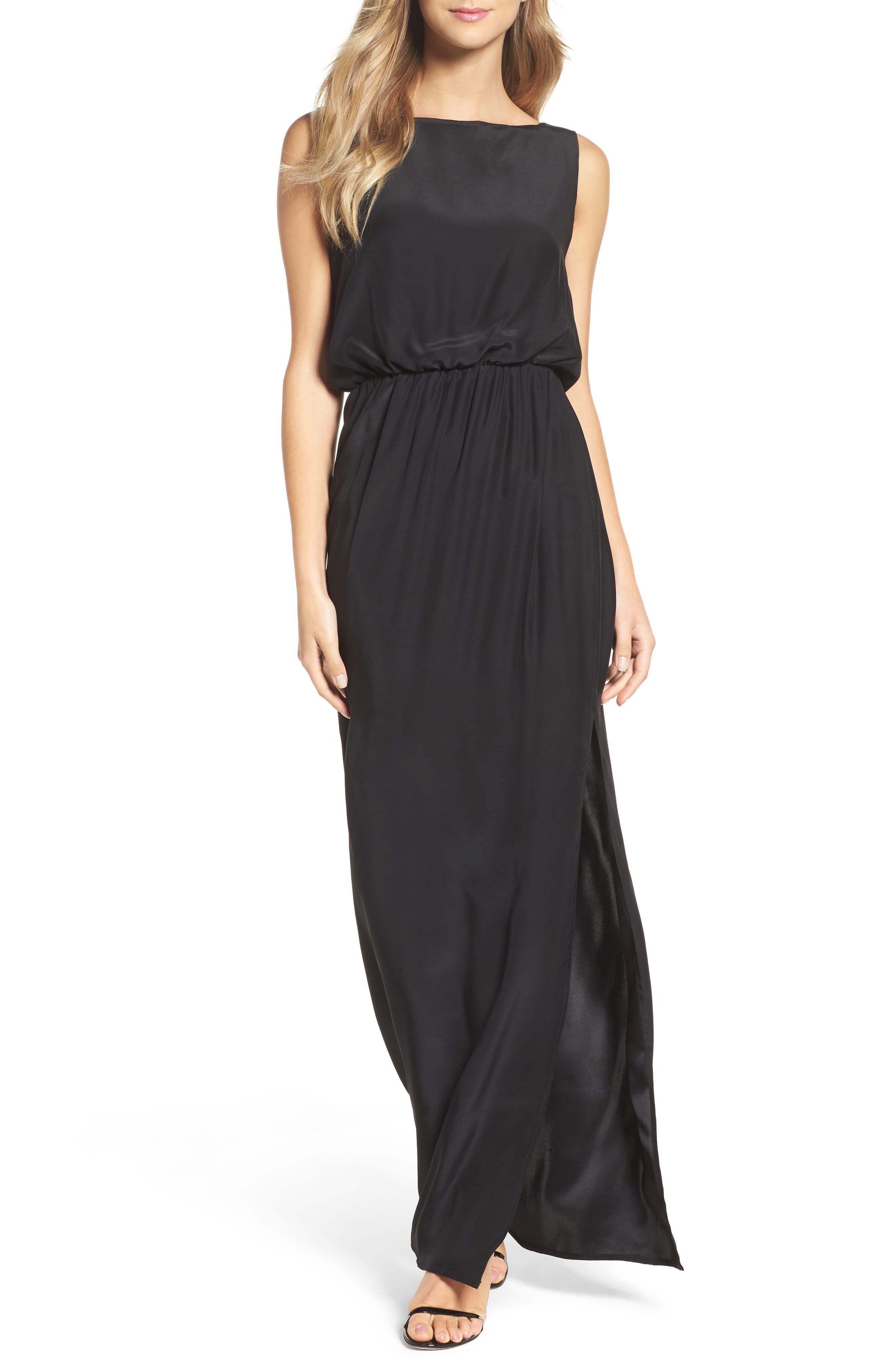 Drape Back Silk Column Gown,                         Main,                         color, 001