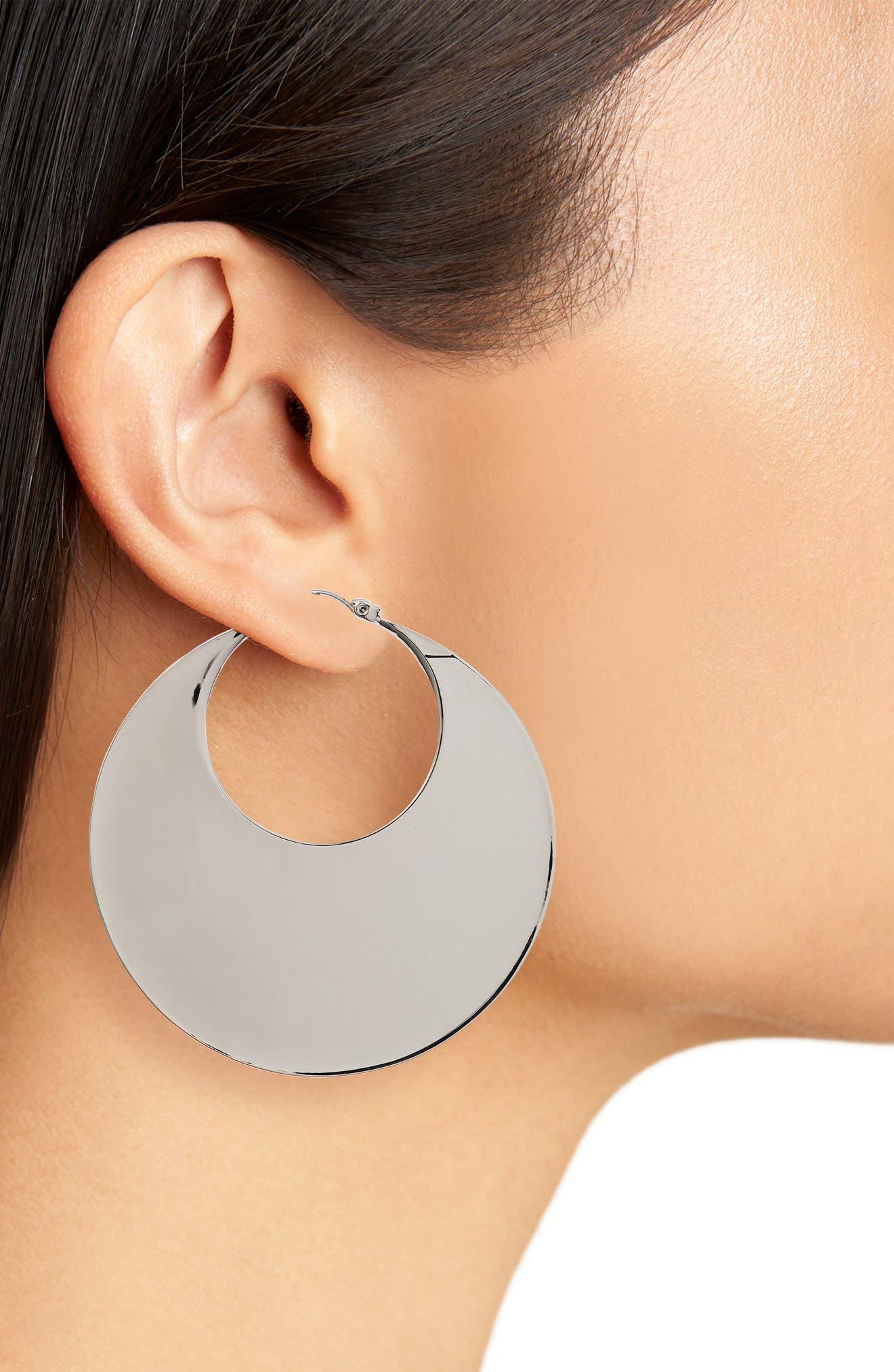 Chunky Disc Hoop Earrings,                             Alternate thumbnail 2, color,                             041