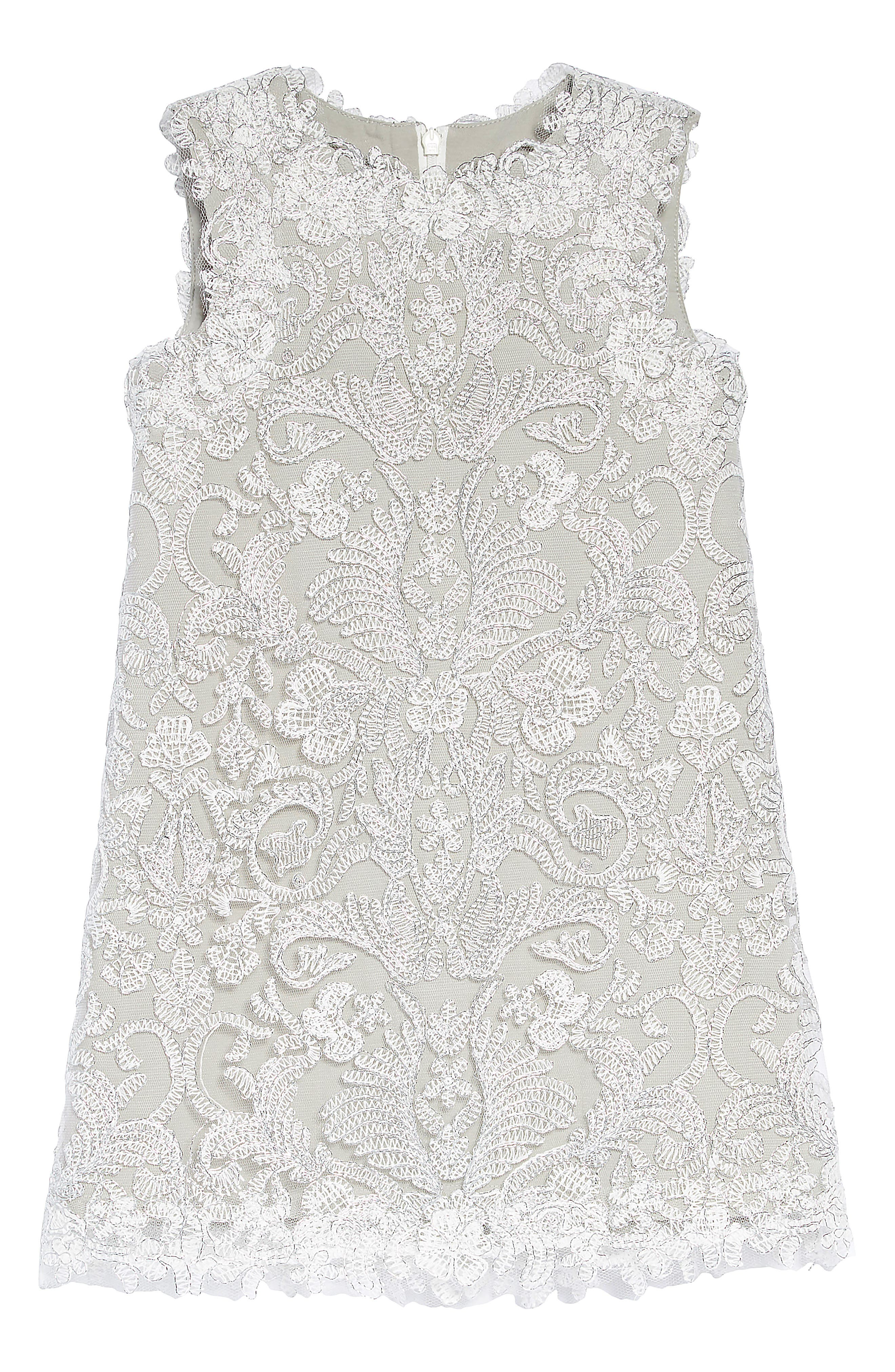 Embroidered Sheath Dress,                         Main,                         color, SILVER