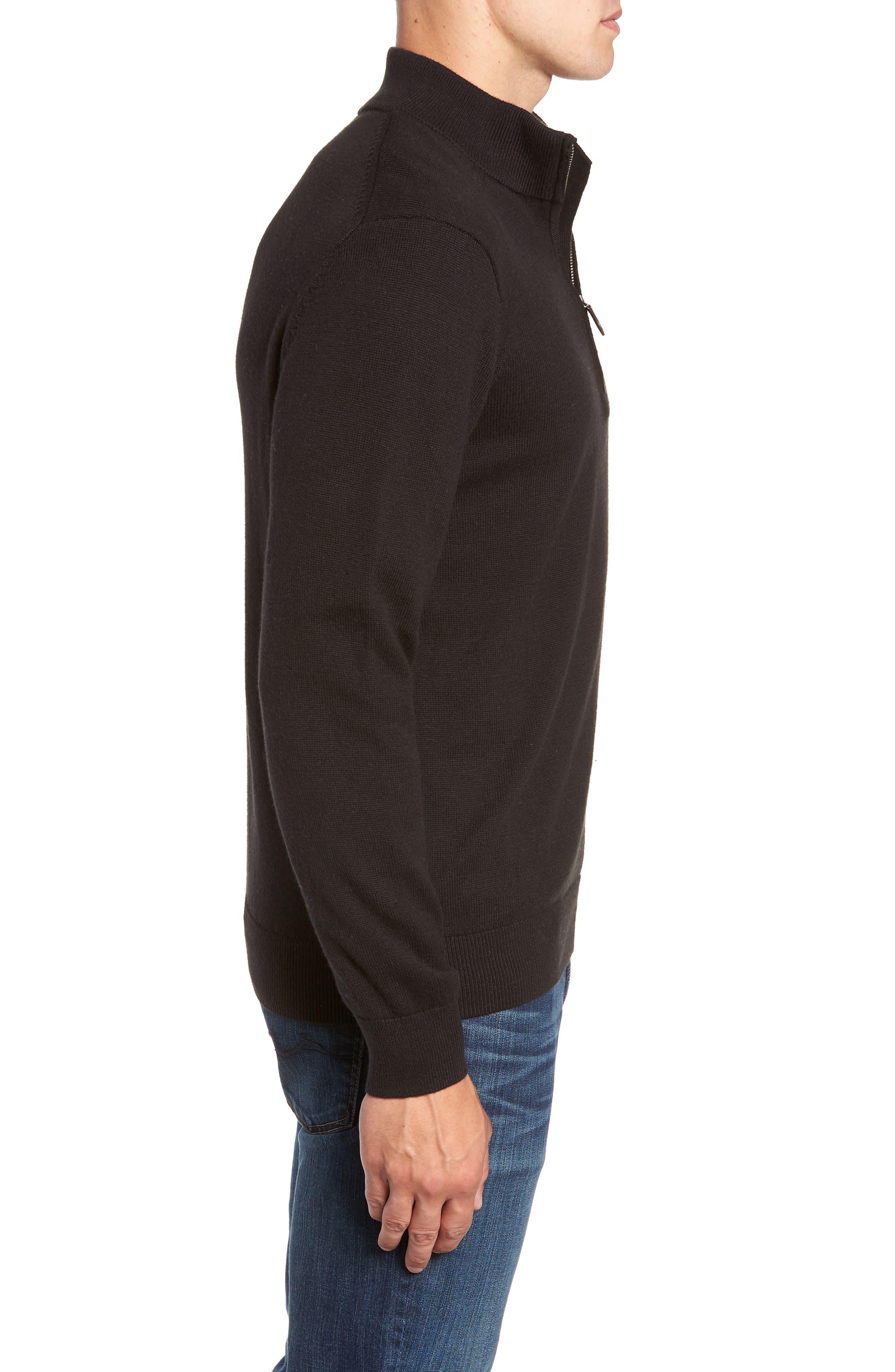Palm Beach Quarter-Zip Sweater,                             Alternate thumbnail 3, color,                             JET BLACK