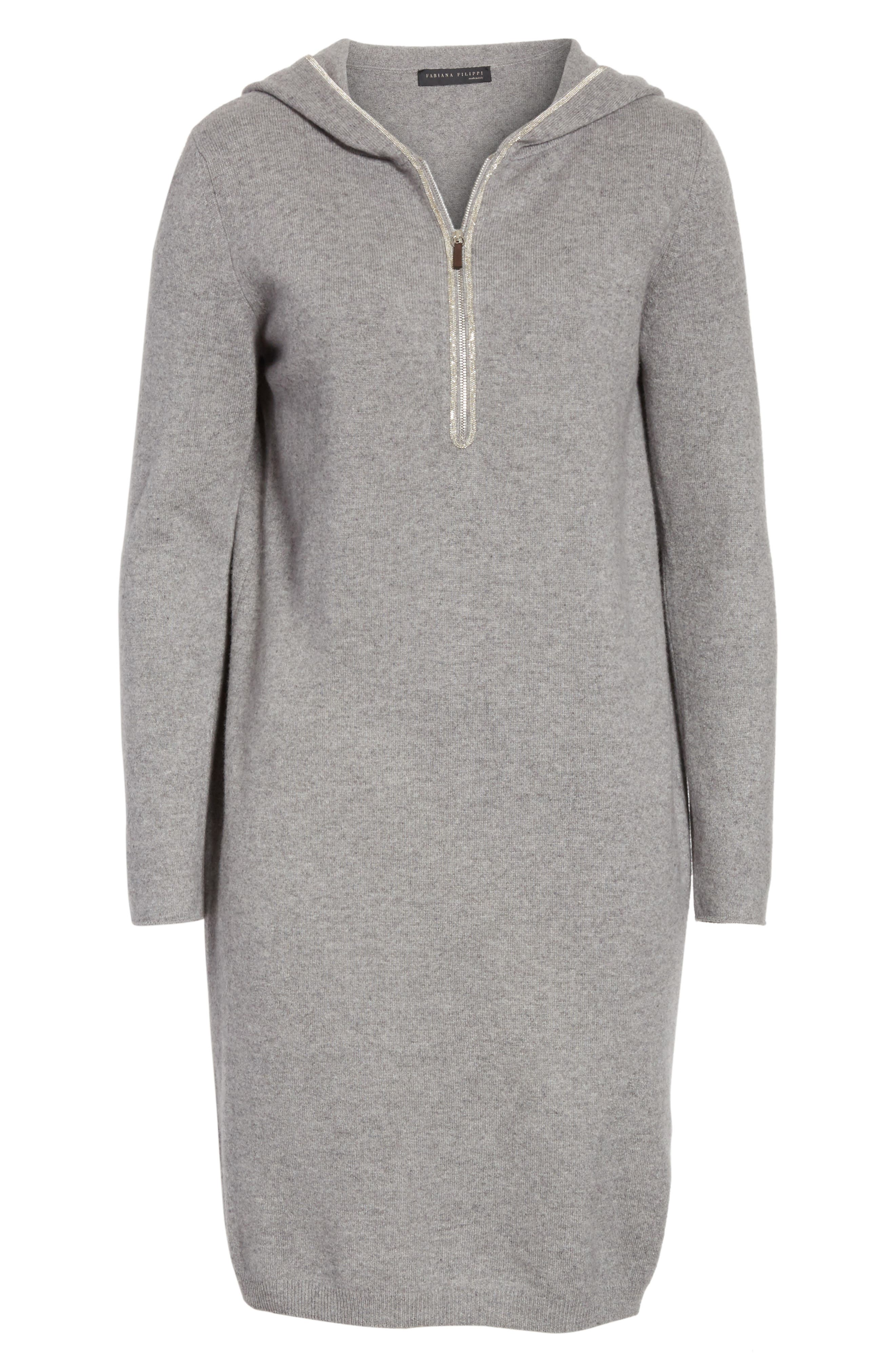 Wool, Silk & Cashmere Hooded Dress,                             Alternate thumbnail 6, color,                             020