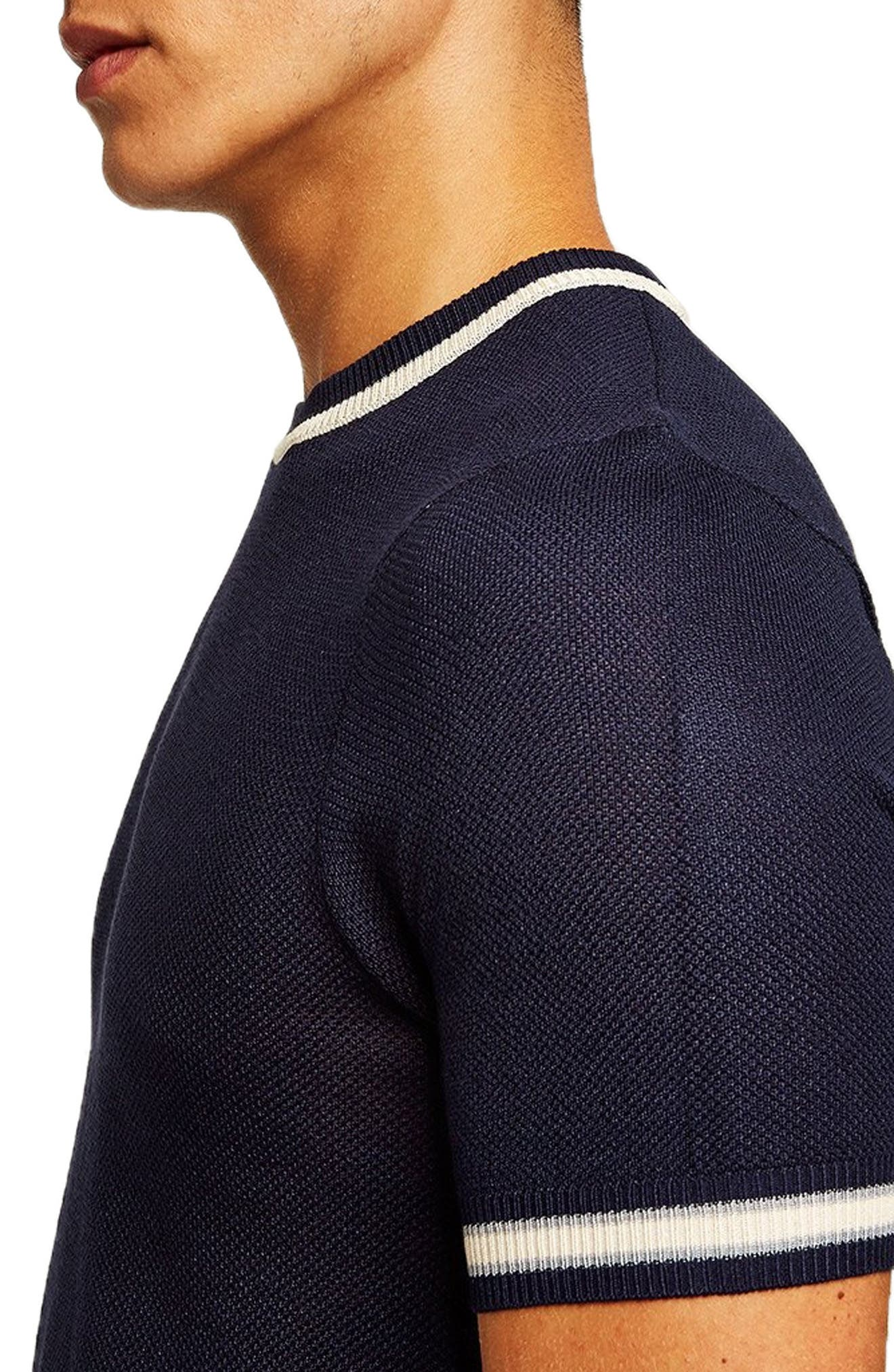 Tipping Classic Fit Short Sleeve Sweater,                             Alternate thumbnail 3, color,                             NAVY BLUE