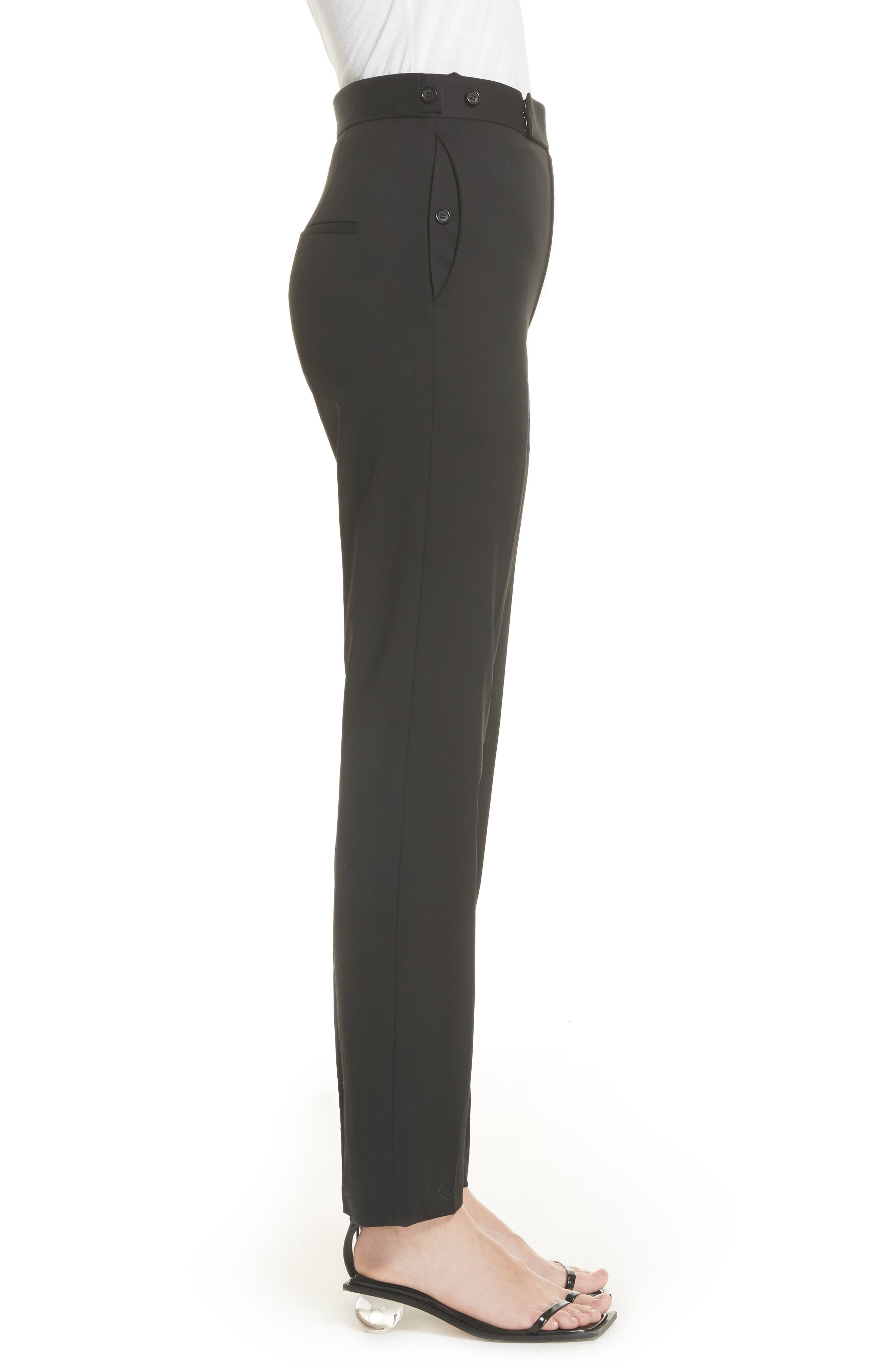 Straight Leg Wool Trousers,                             Alternate thumbnail 3, color,                             001