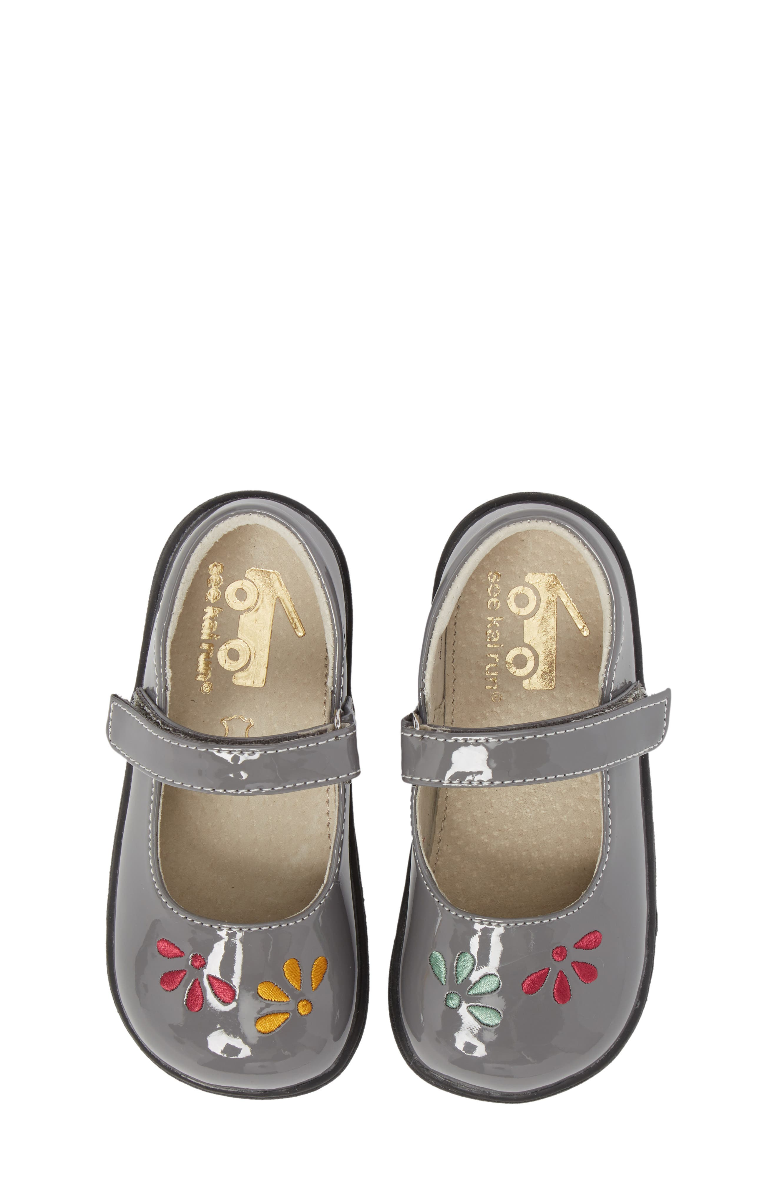 Ginny Embroidered Metallic Mary Jane,                             Main thumbnail 1, color,                             GRAY PATENT