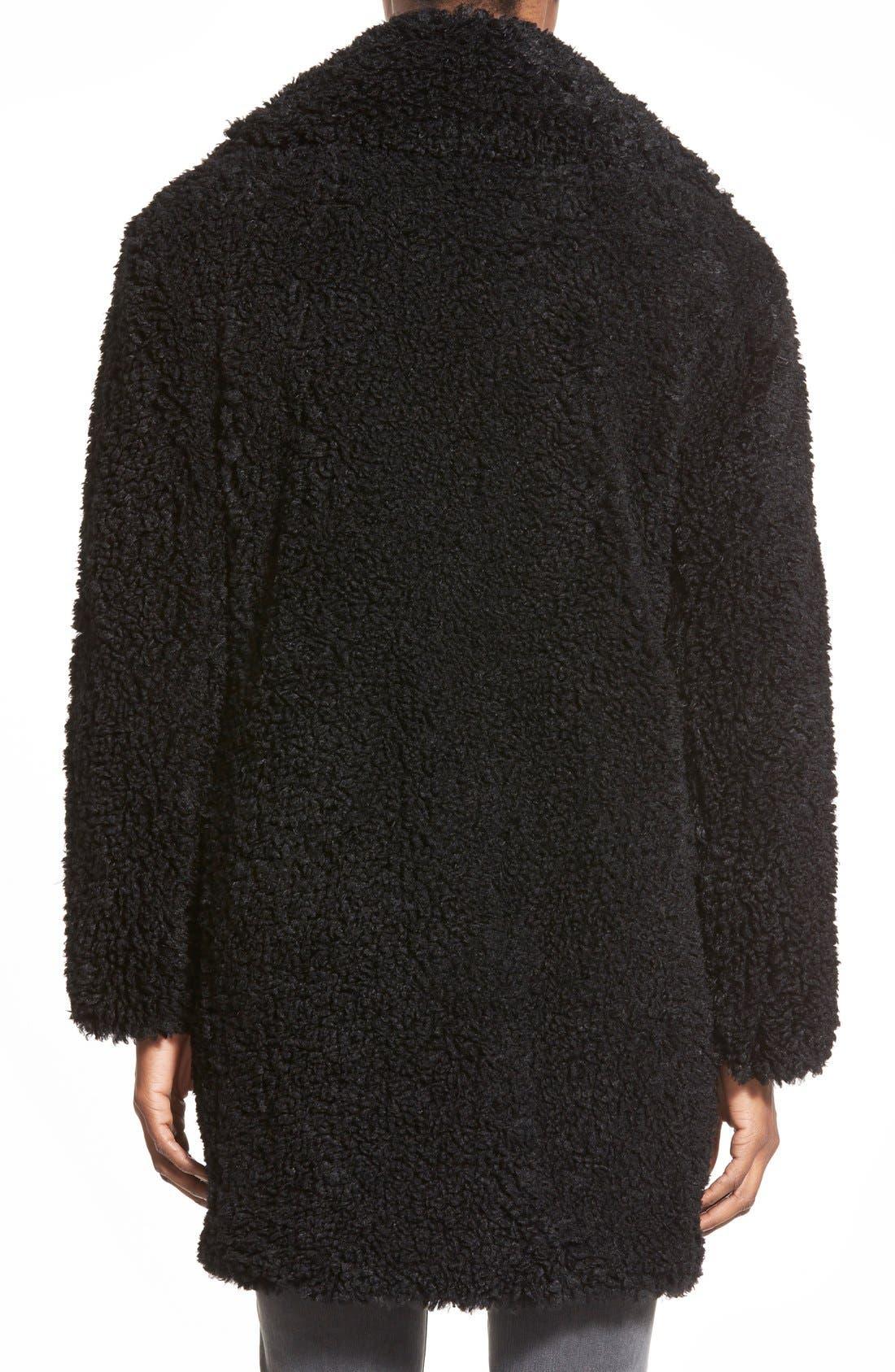 KENSIE,                             'Teddy Bear' Notch Collar Reversible Faux Fur Coat,                             Alternate thumbnail 2, color,                             001