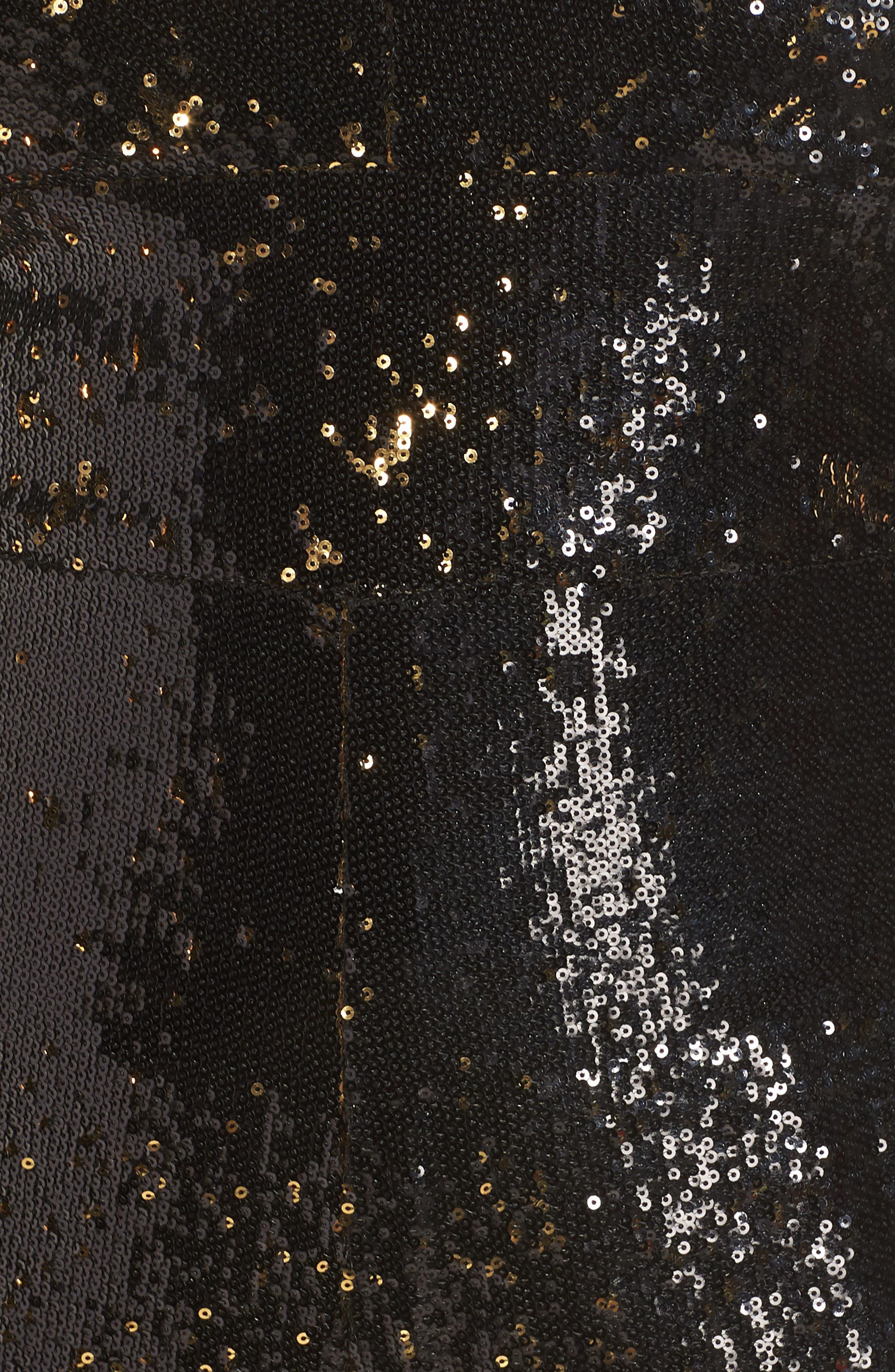 Sequin Romper,                             Alternate thumbnail 6, color,                             BLACK GOLD