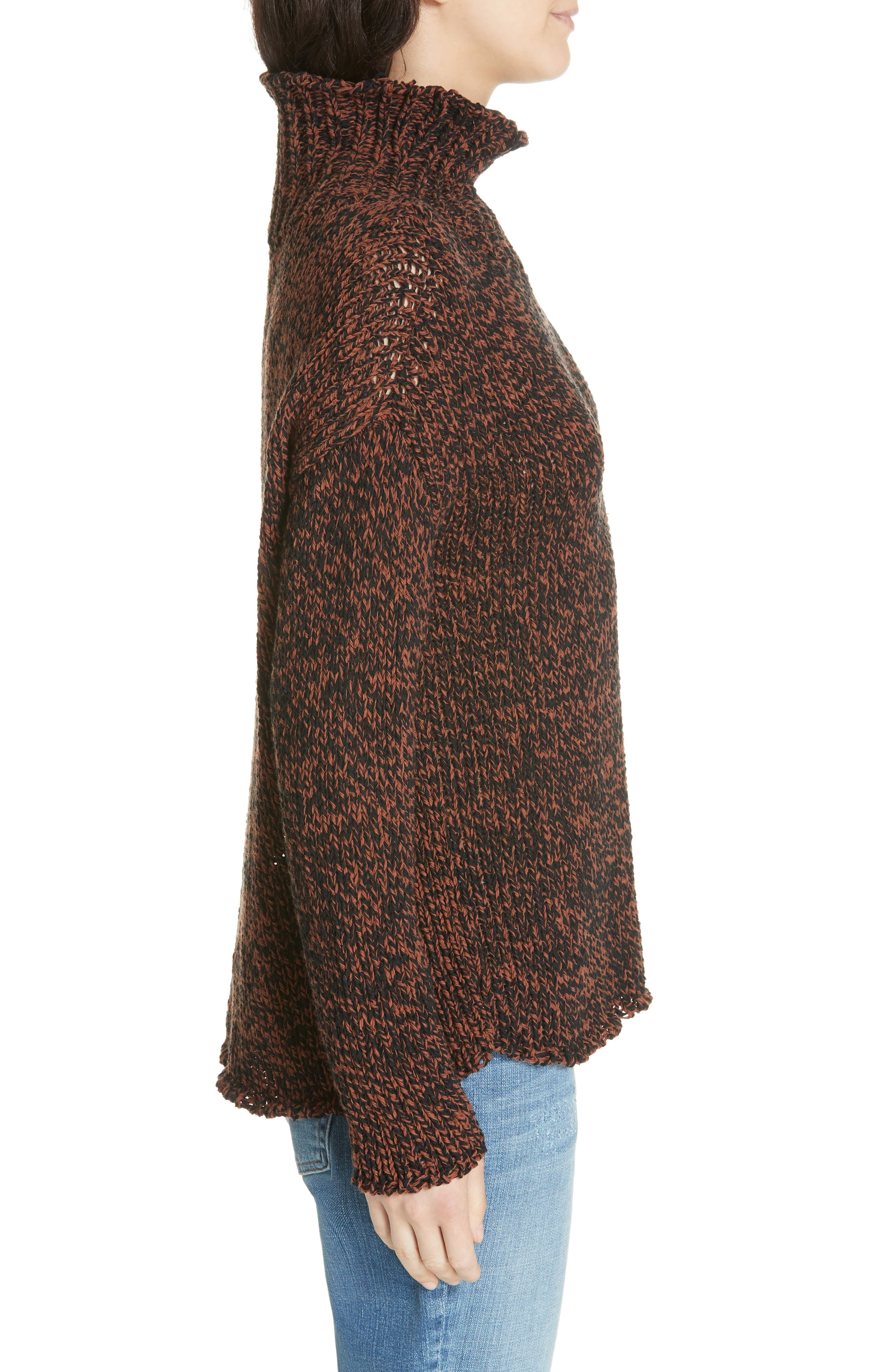 Marled Organic Cotton Blend Sweater,                             Alternate thumbnail 3, color,                             NUTMEG