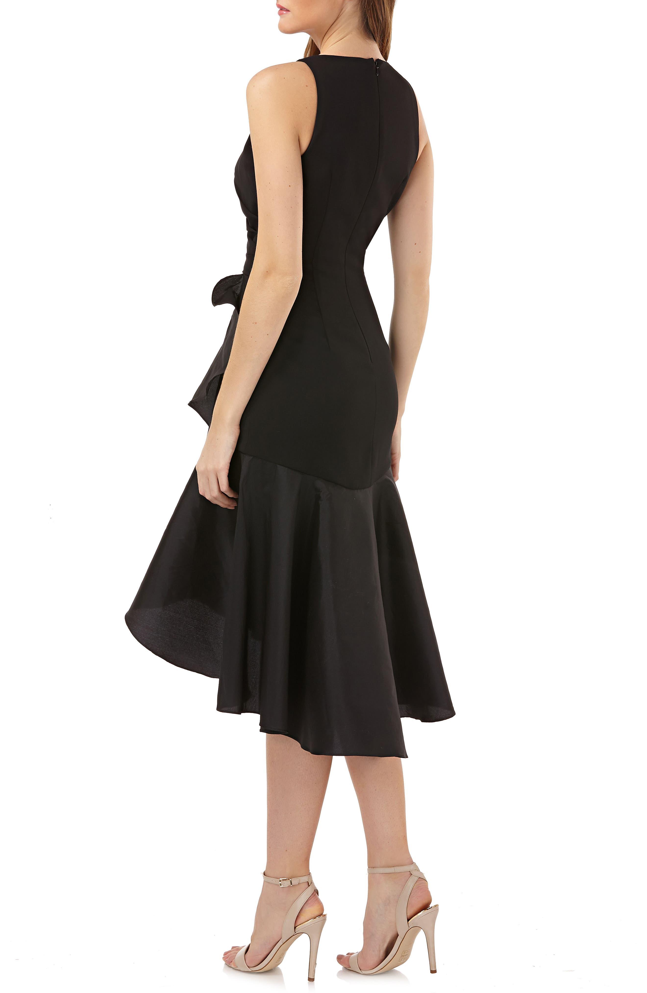 Crepe Contrast Ruffle Cocktail Dress,                             Alternate thumbnail 2, color,                             BLACK