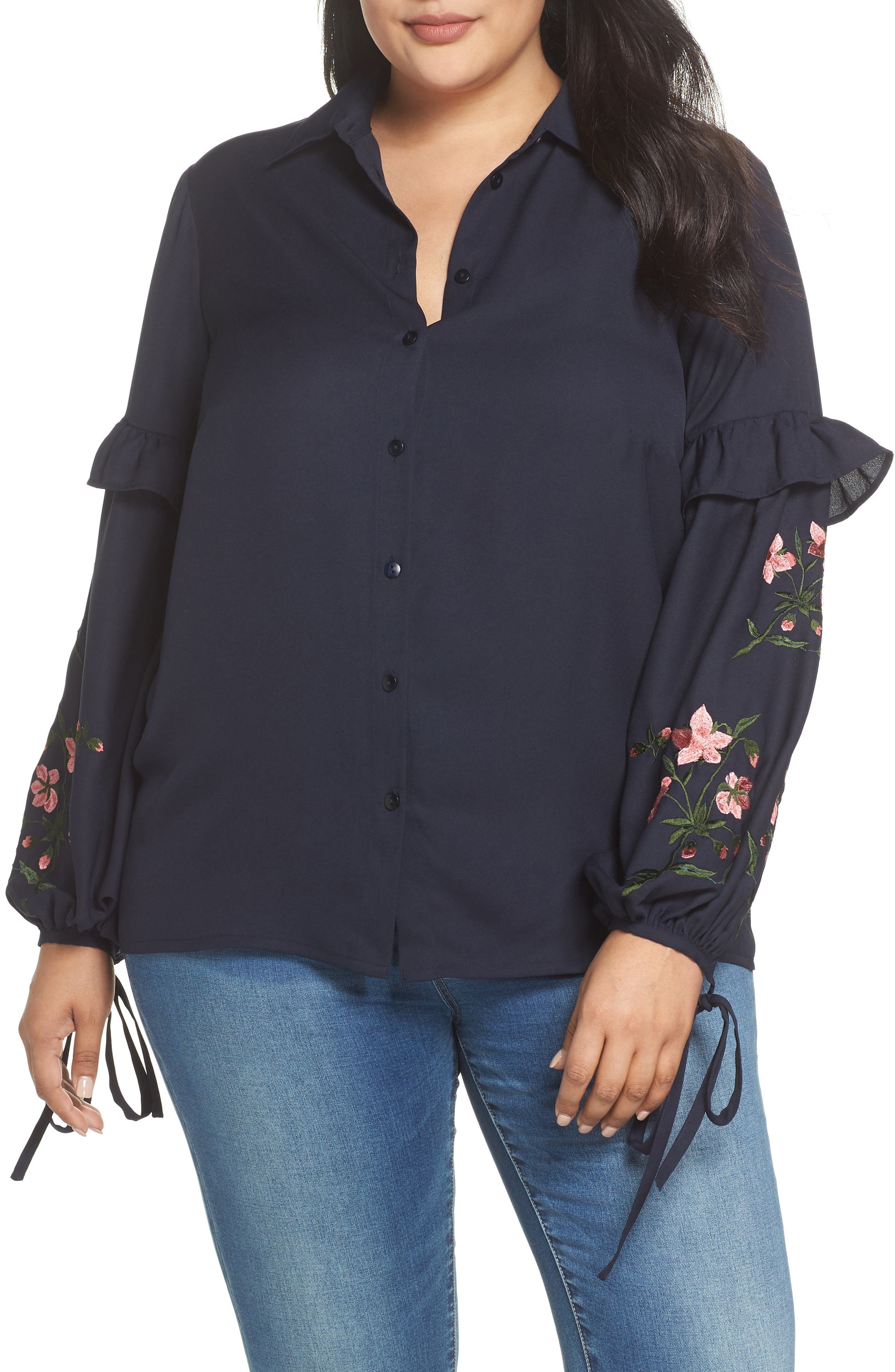 Embroidered Sleeve Button Down Shirt,                         Main,                         color, 410