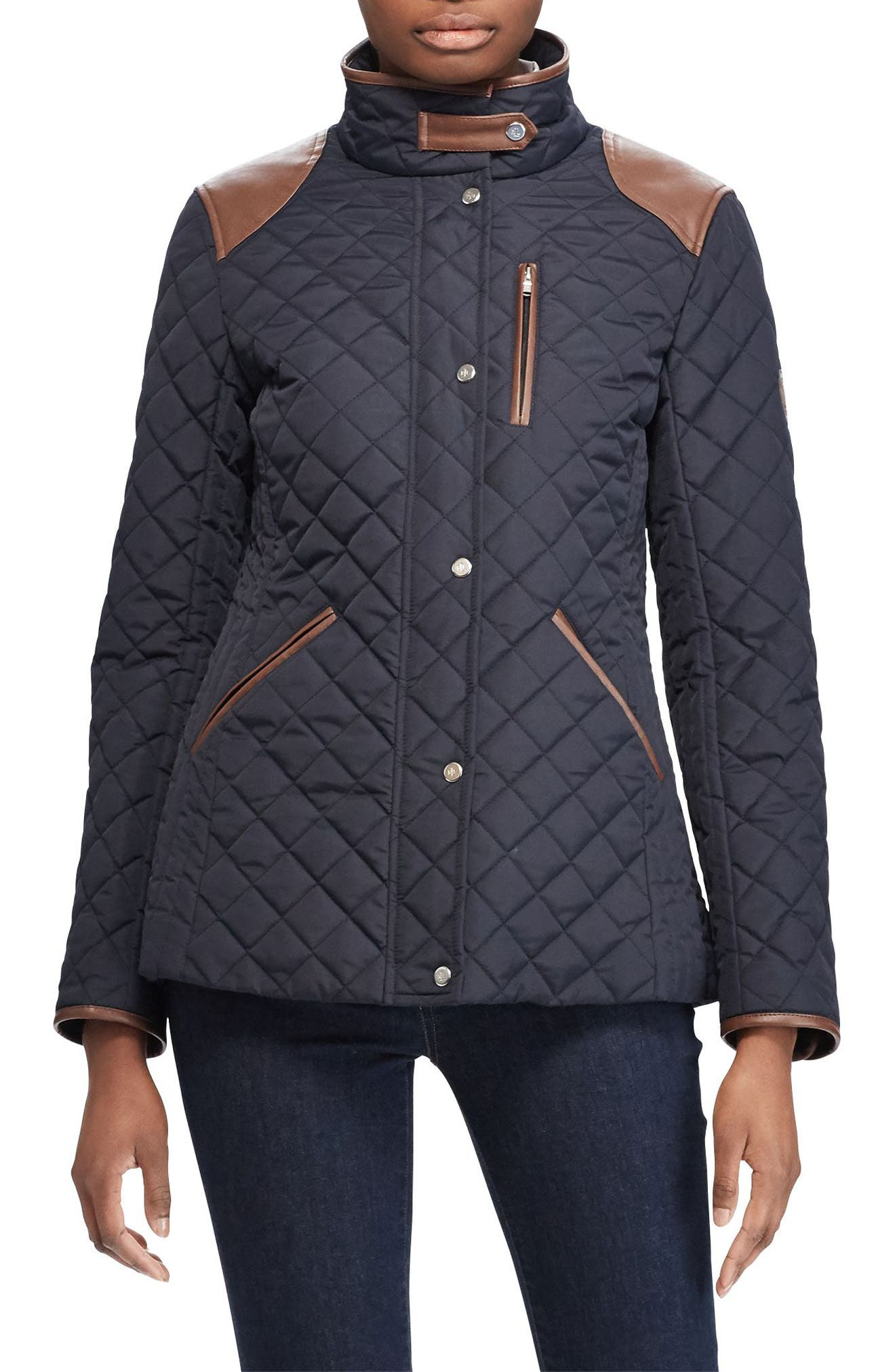 Faux Leather Trim Quilted Jacket,                             Main thumbnail 3, color,