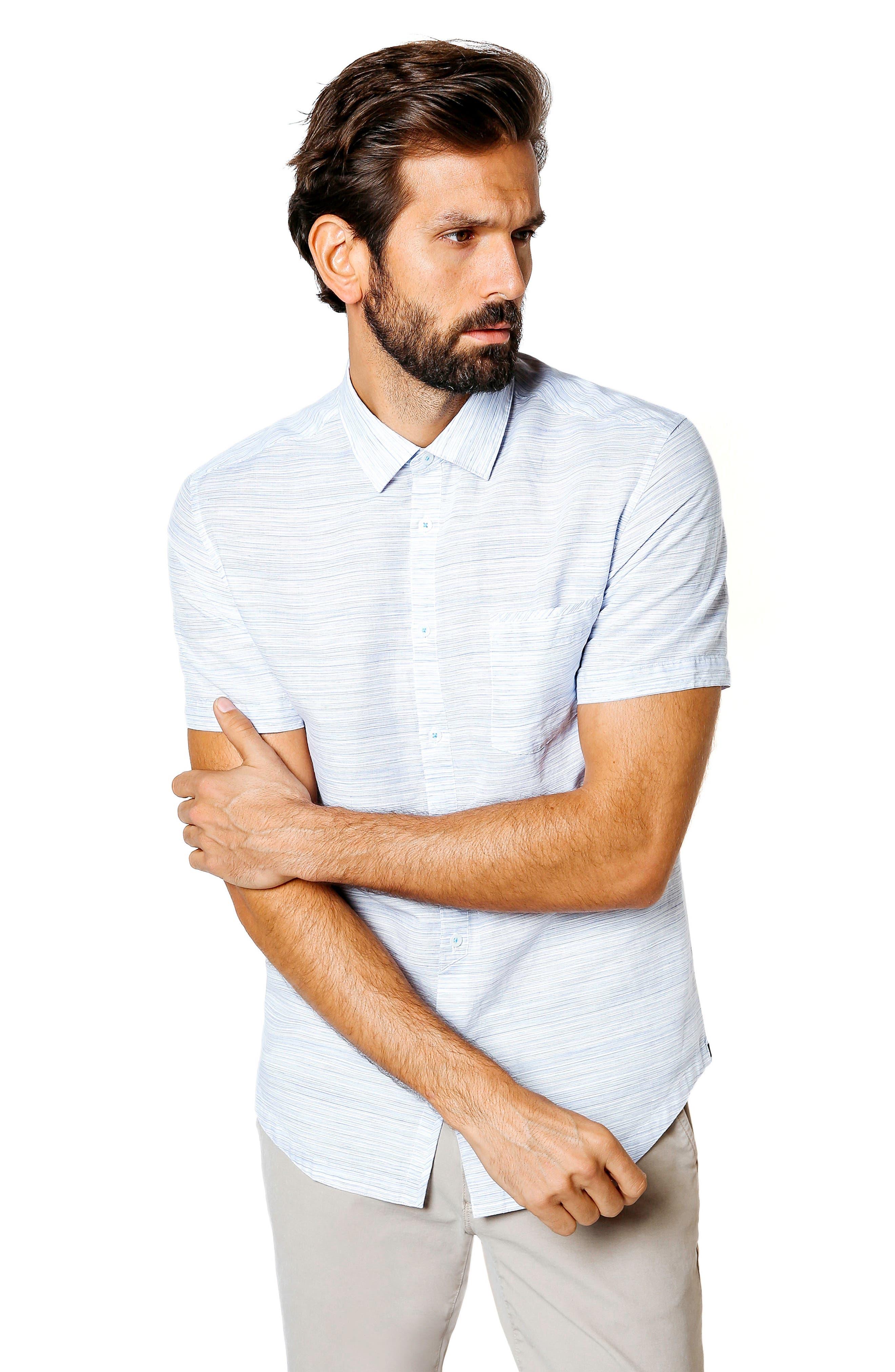 Slim Fit Stripe Short Sleeve Sport Shirt,                             Alternate thumbnail 5, color,                             BLUE