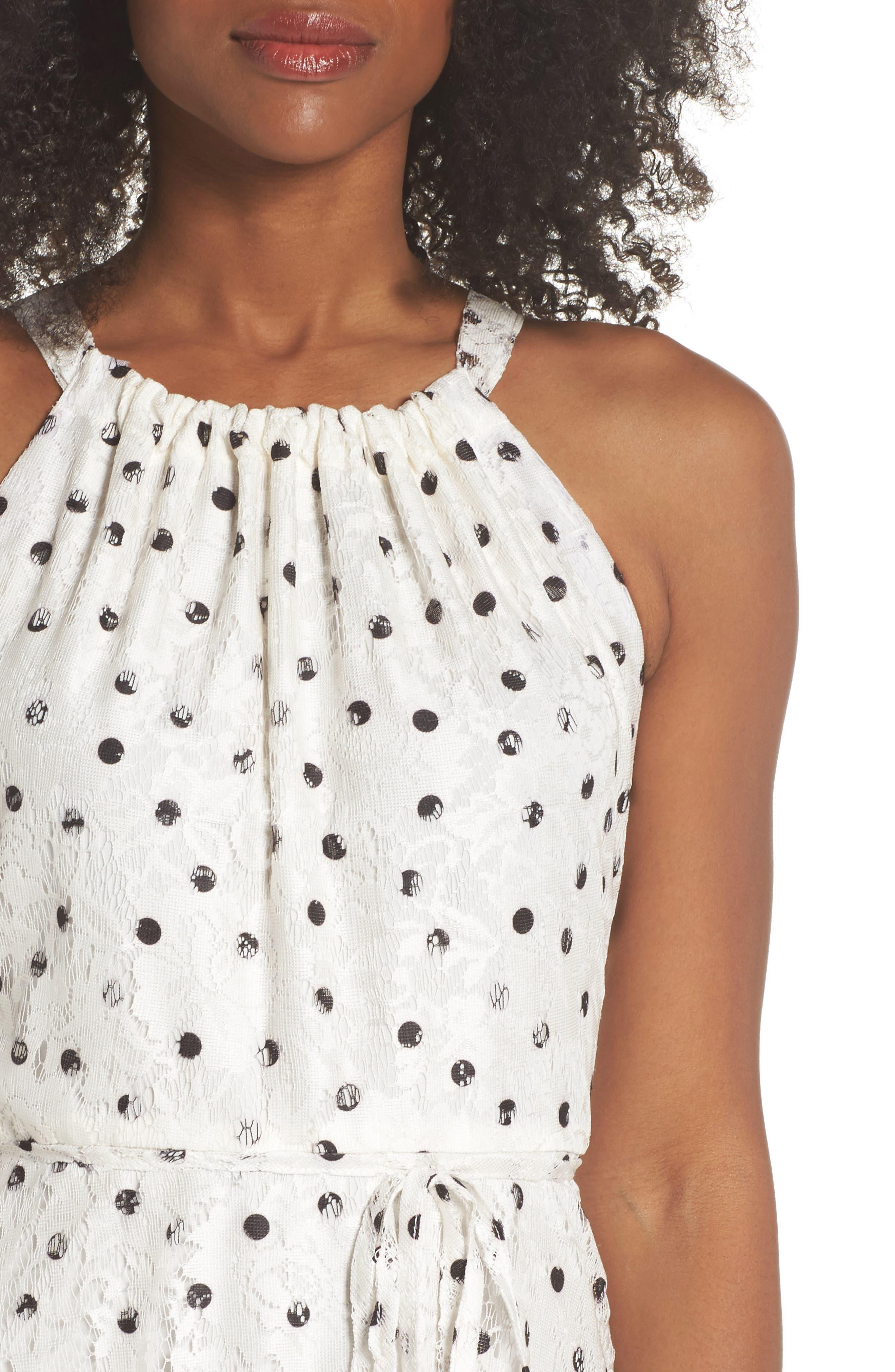 Polka Dot Lace Midi Dress,                             Alternate thumbnail 4, color,                             110