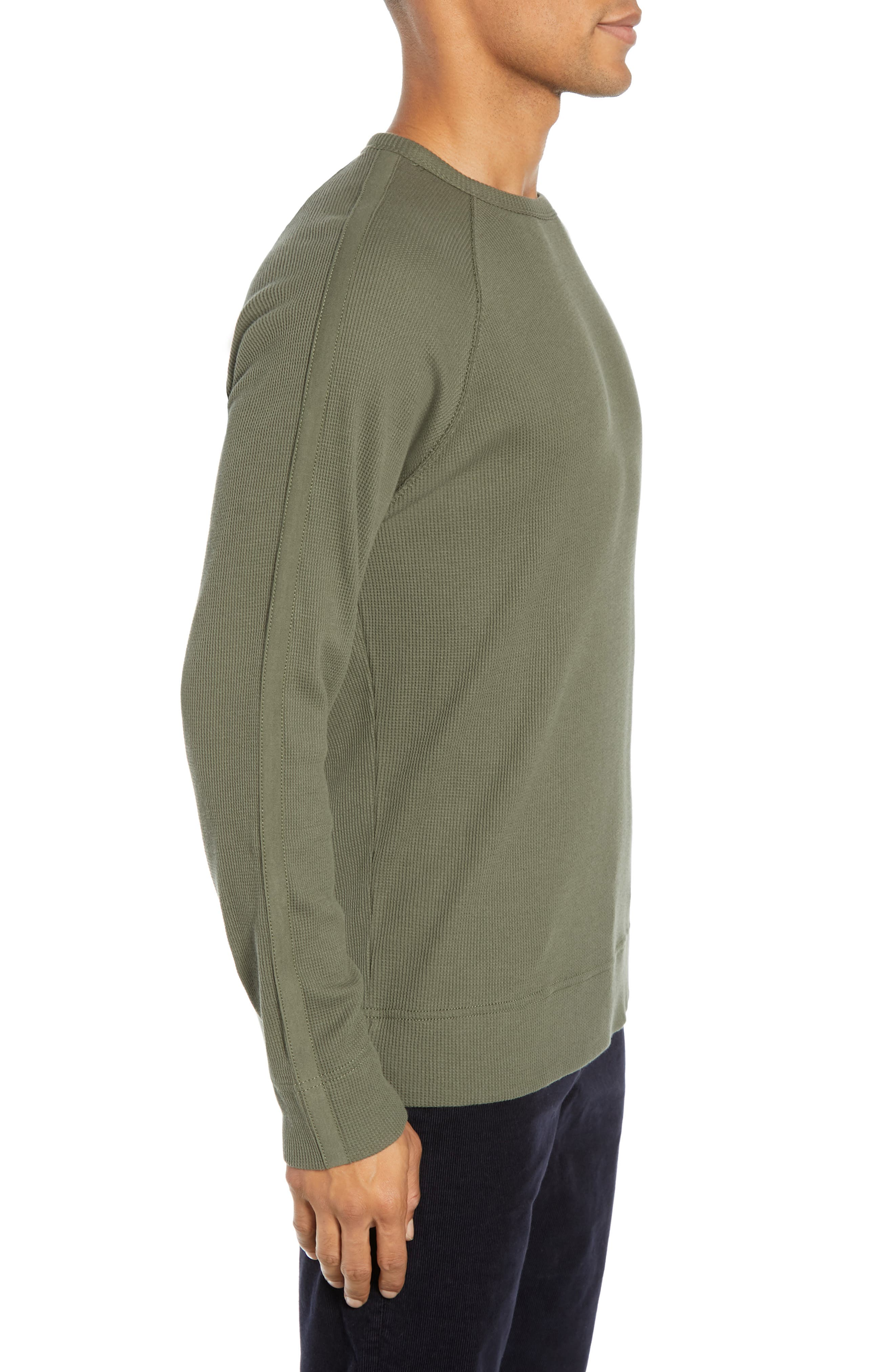 Waffle Knit Pullover,                             Alternate thumbnail 3, color,                             INFANTRY GREEN