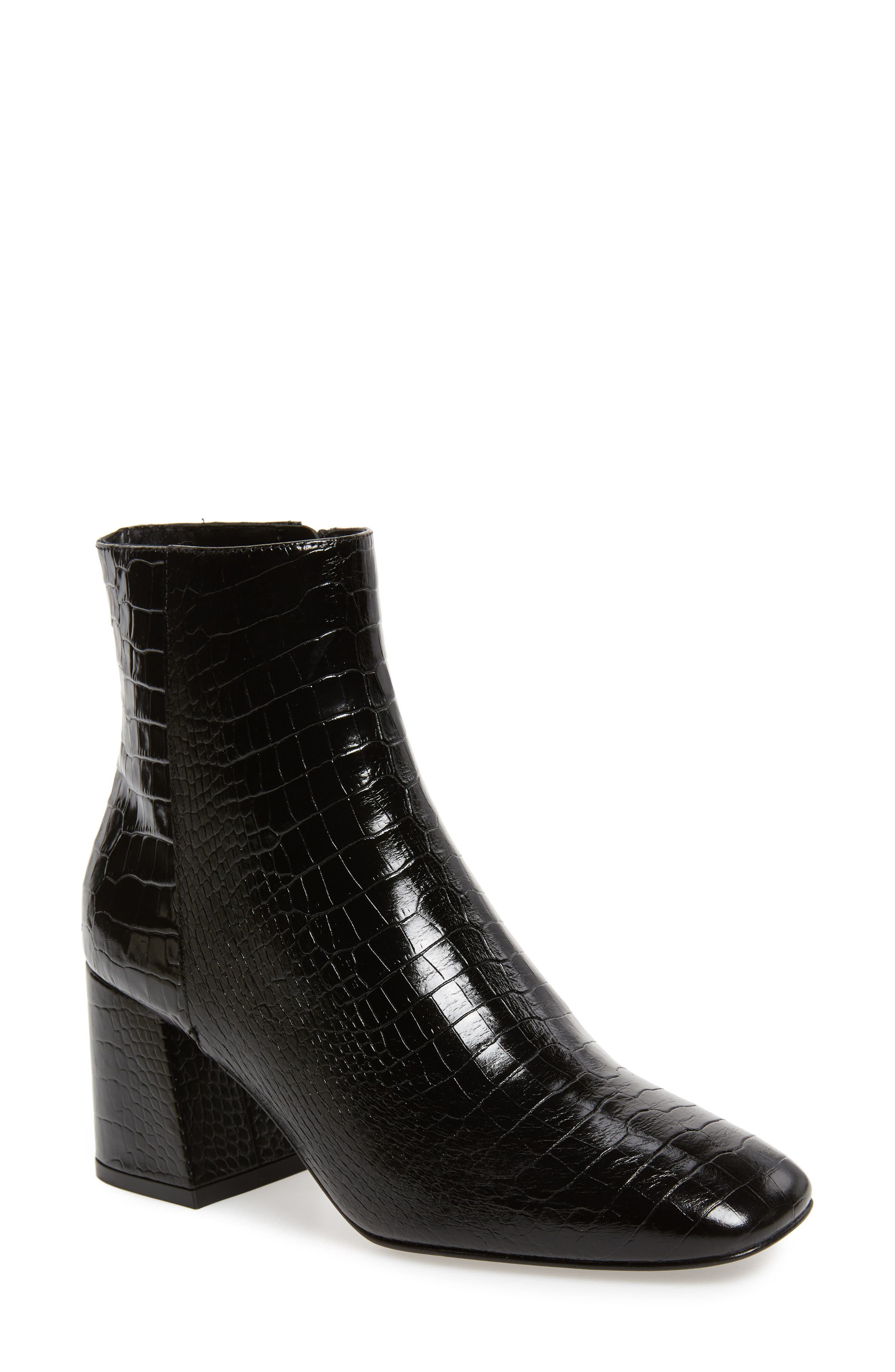 FREDA SALVADOR Charm Reptile Embossed Bootie in Black Croc Printed Leater
