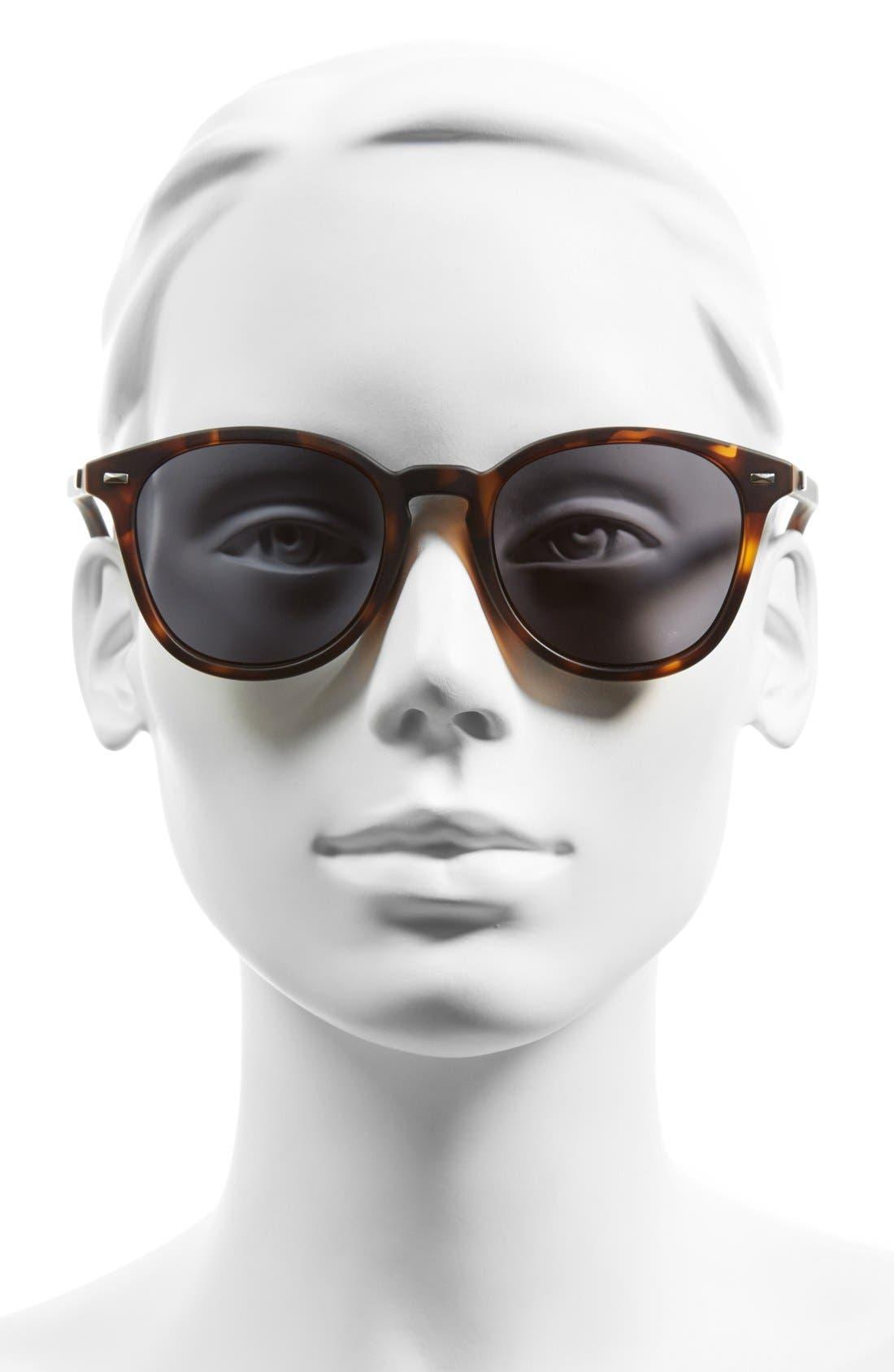 'Bandwagon' 51mm Polarized Sunglasses,                             Alternate thumbnail 2, color,                             MATTE TORT/ SMOKE MONO POLAR