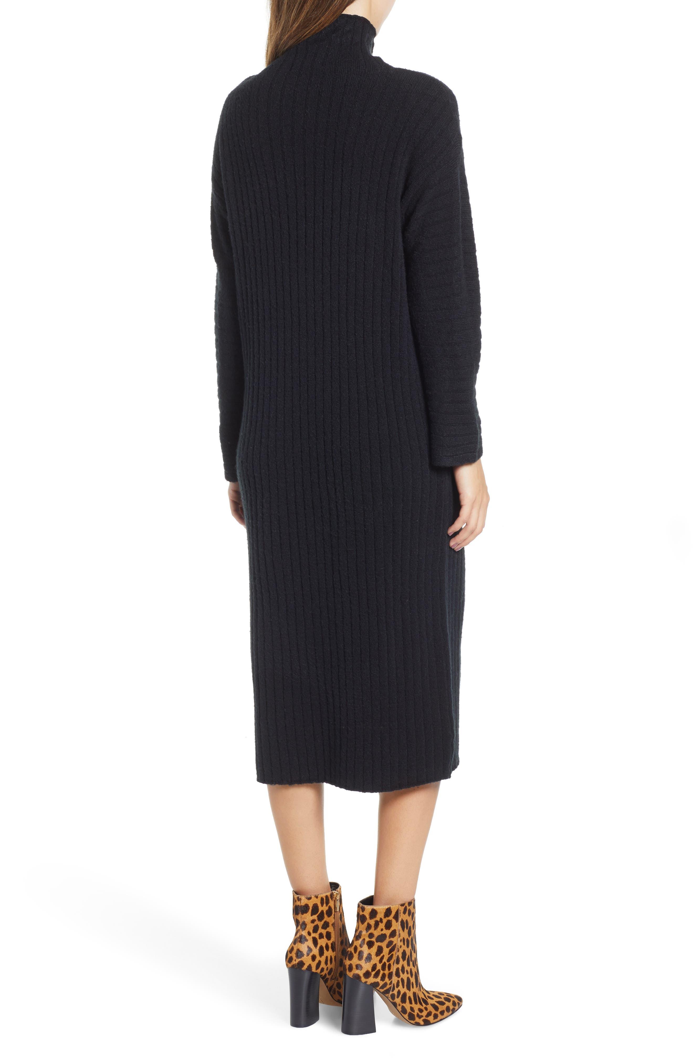 Rib Midi Sweater Dress,                             Alternate thumbnail 2, color,                             BLACK