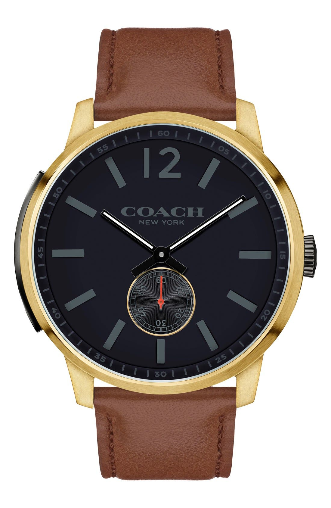 'Bleeker' Leather Strap Watch, 46mm,                             Main thumbnail 2, color,