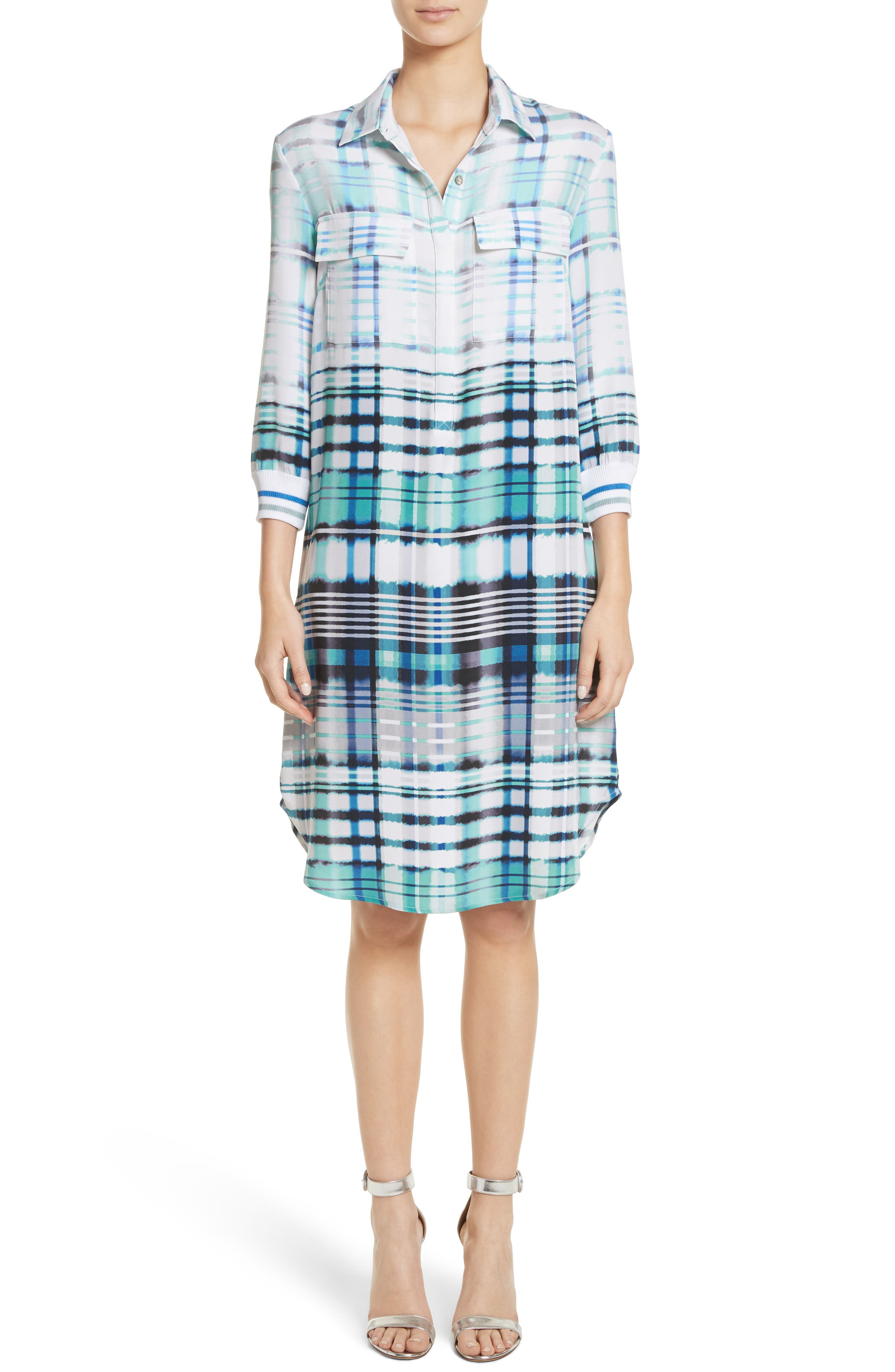 Ombré Plaid Stretch Silk Shirtdress,                         Main,                         color, 350