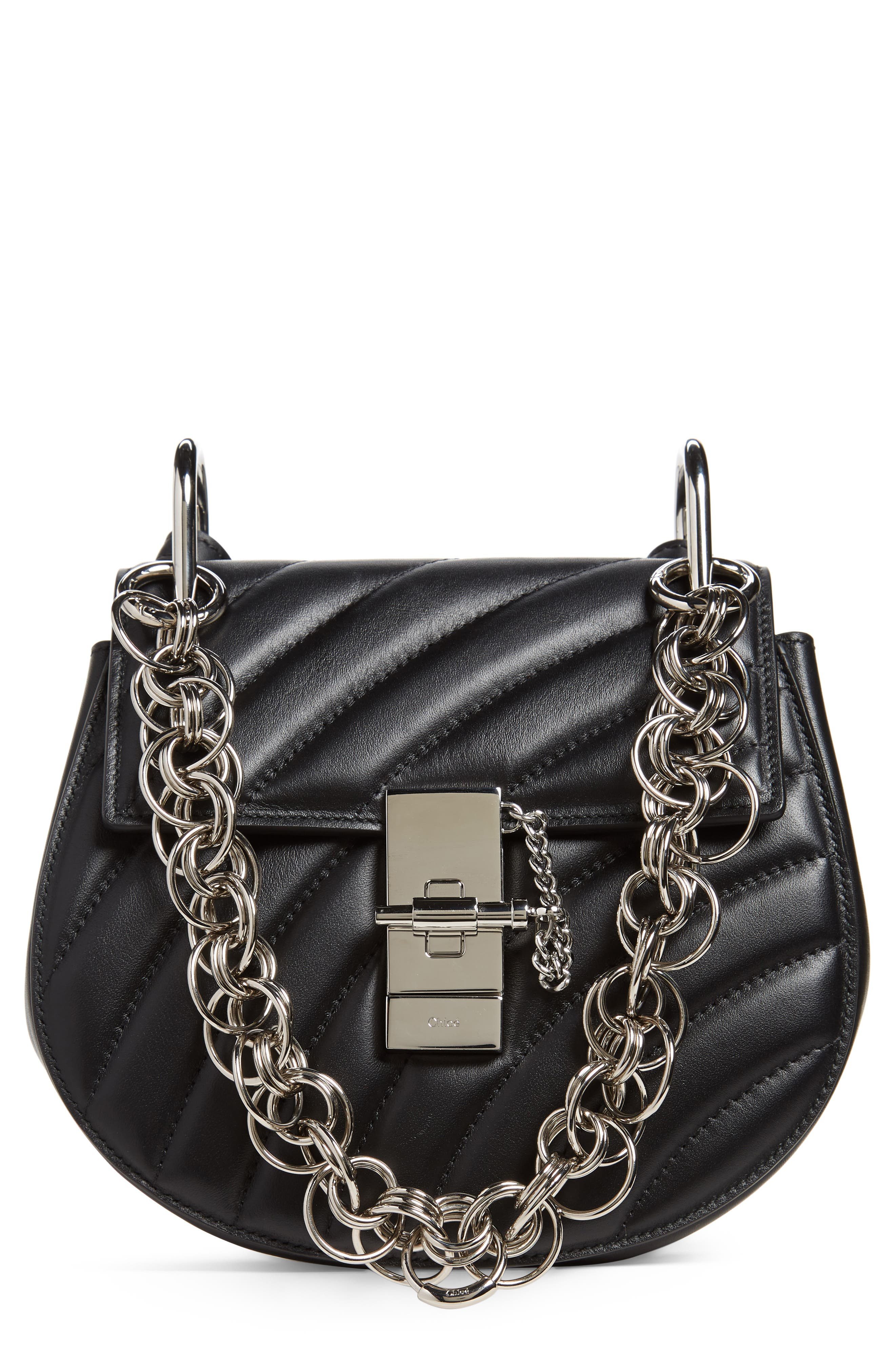Mini Drew Bijoux Leather Shoulder Bag,                         Main,                         color, 001