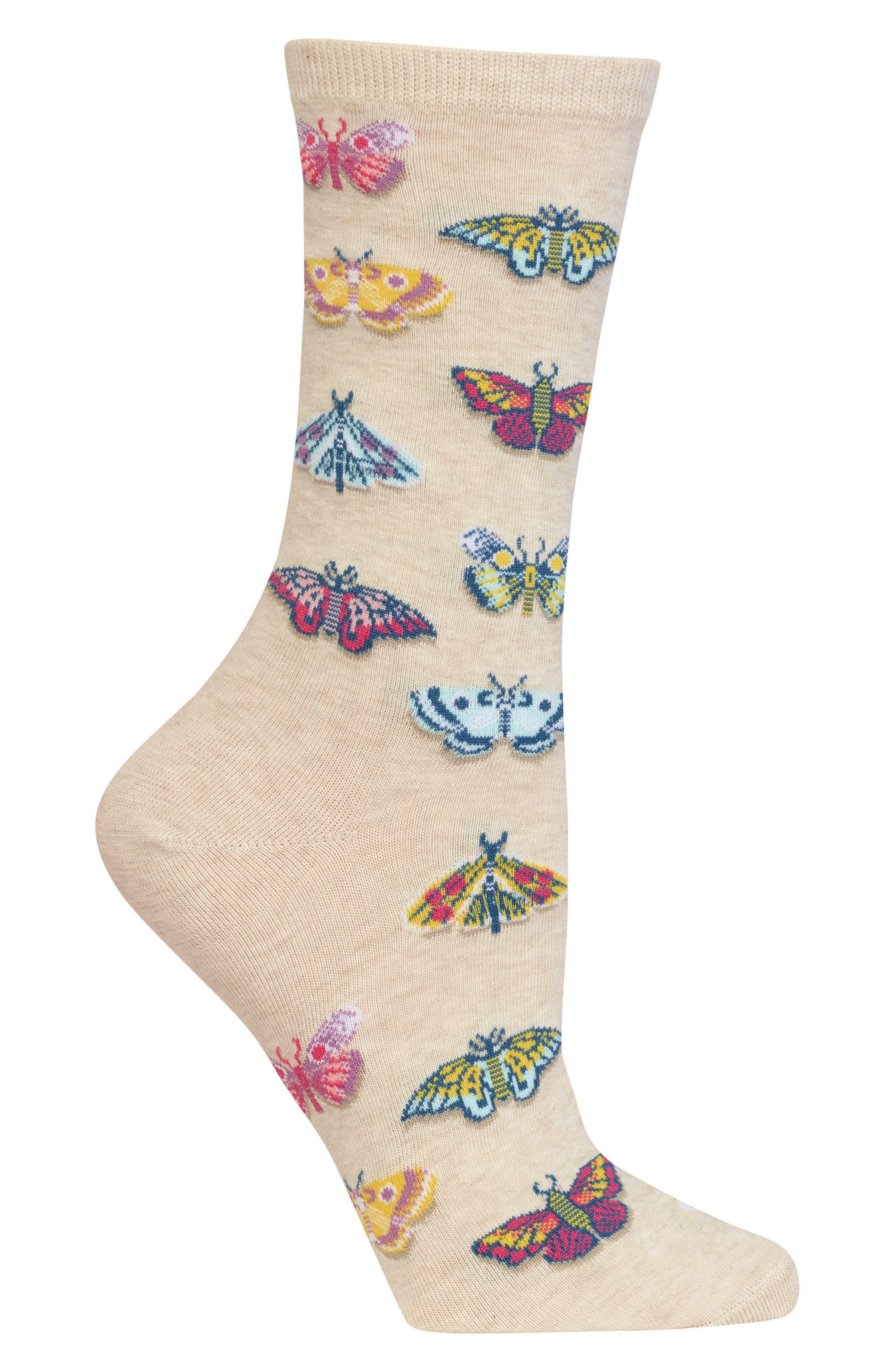 Butterflies Crew Socks,                             Alternate thumbnail 2, color,                             257