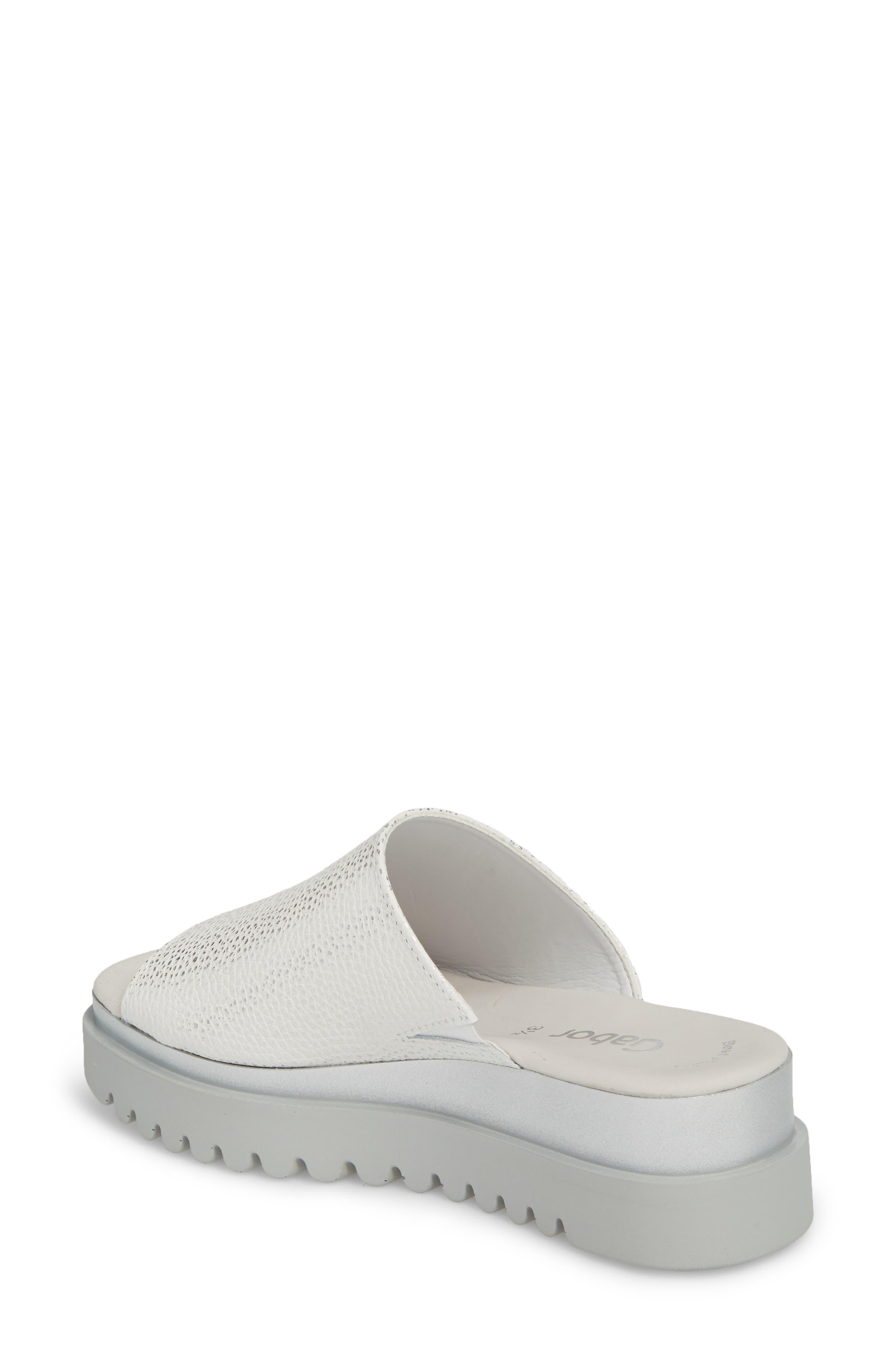 Platform Slide Sandal,                             Alternate thumbnail 2, color,                             WHITE LEATHER