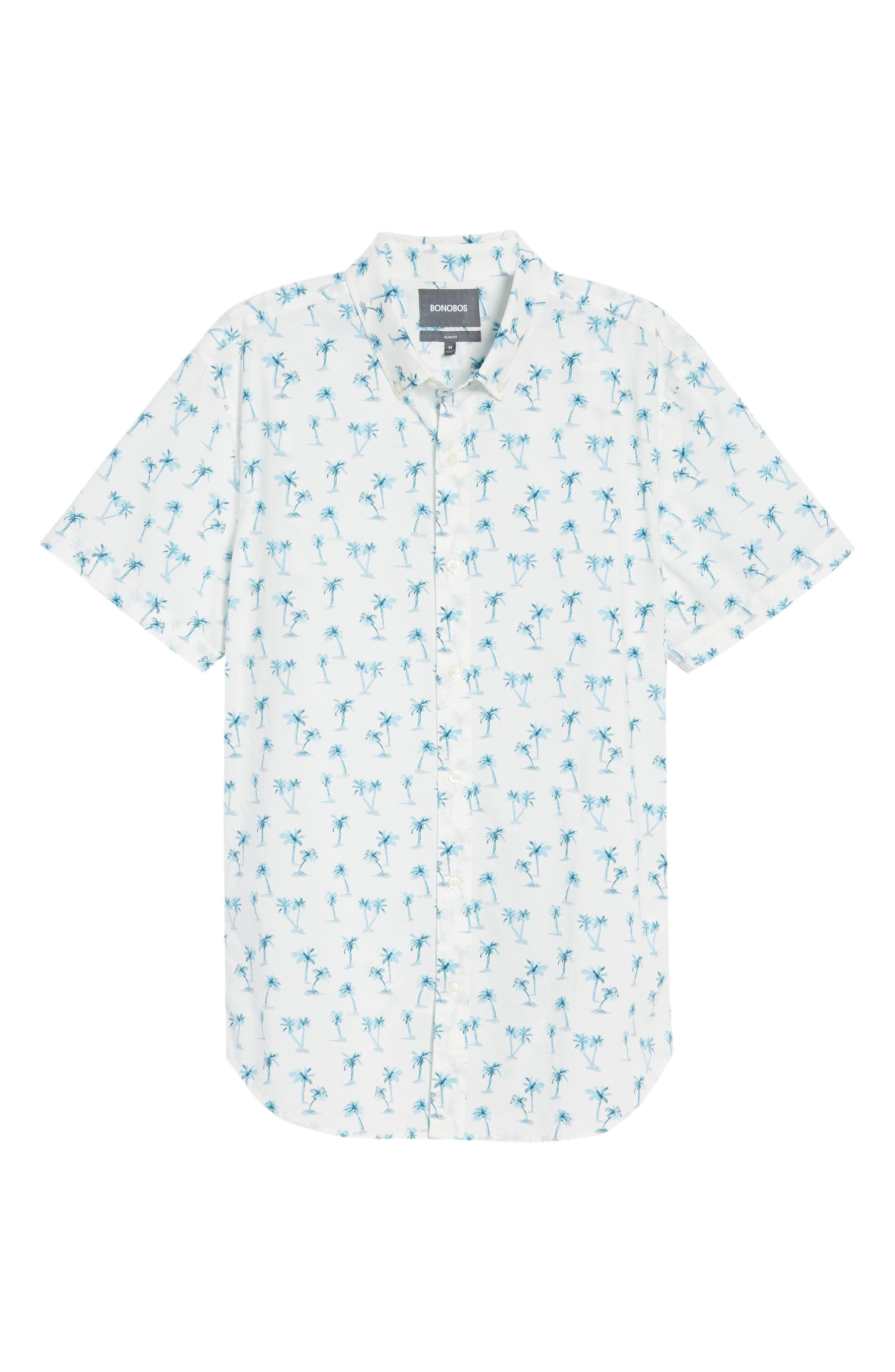 Riviera Slim Fit Palm Print Sport Shirt,                             Alternate thumbnail 6, color,                             100
