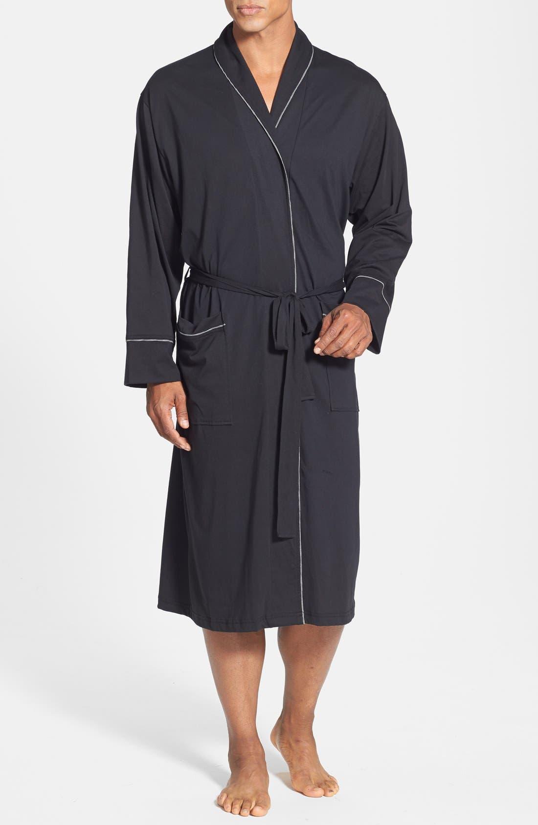 Peruvian Pima Cotton Robe,                             Main thumbnail 1, color,                             BLACK