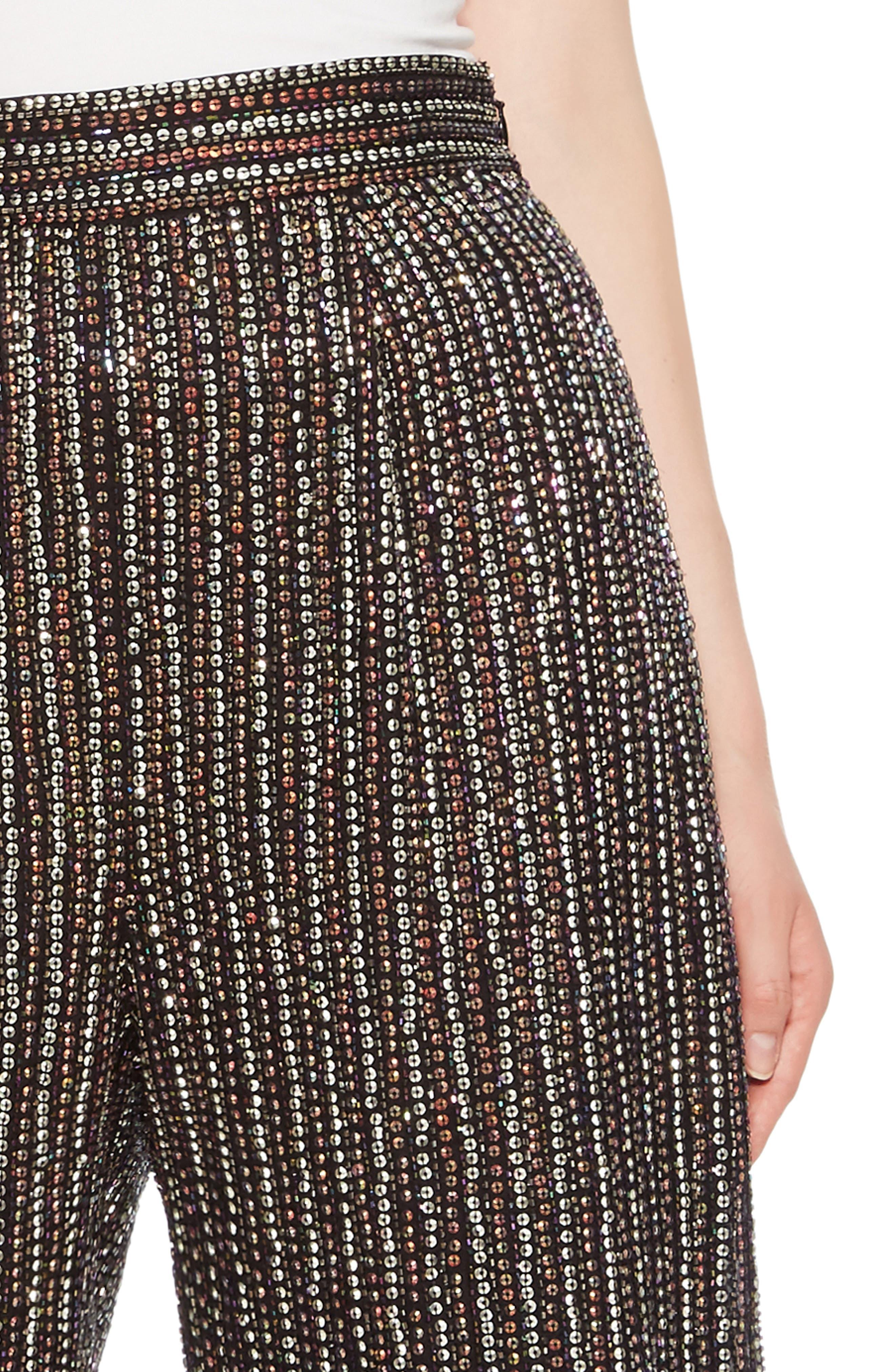 Ellen Wide Leg Crop Pants,                             Alternate thumbnail 4, color,                             BLACK MULTI