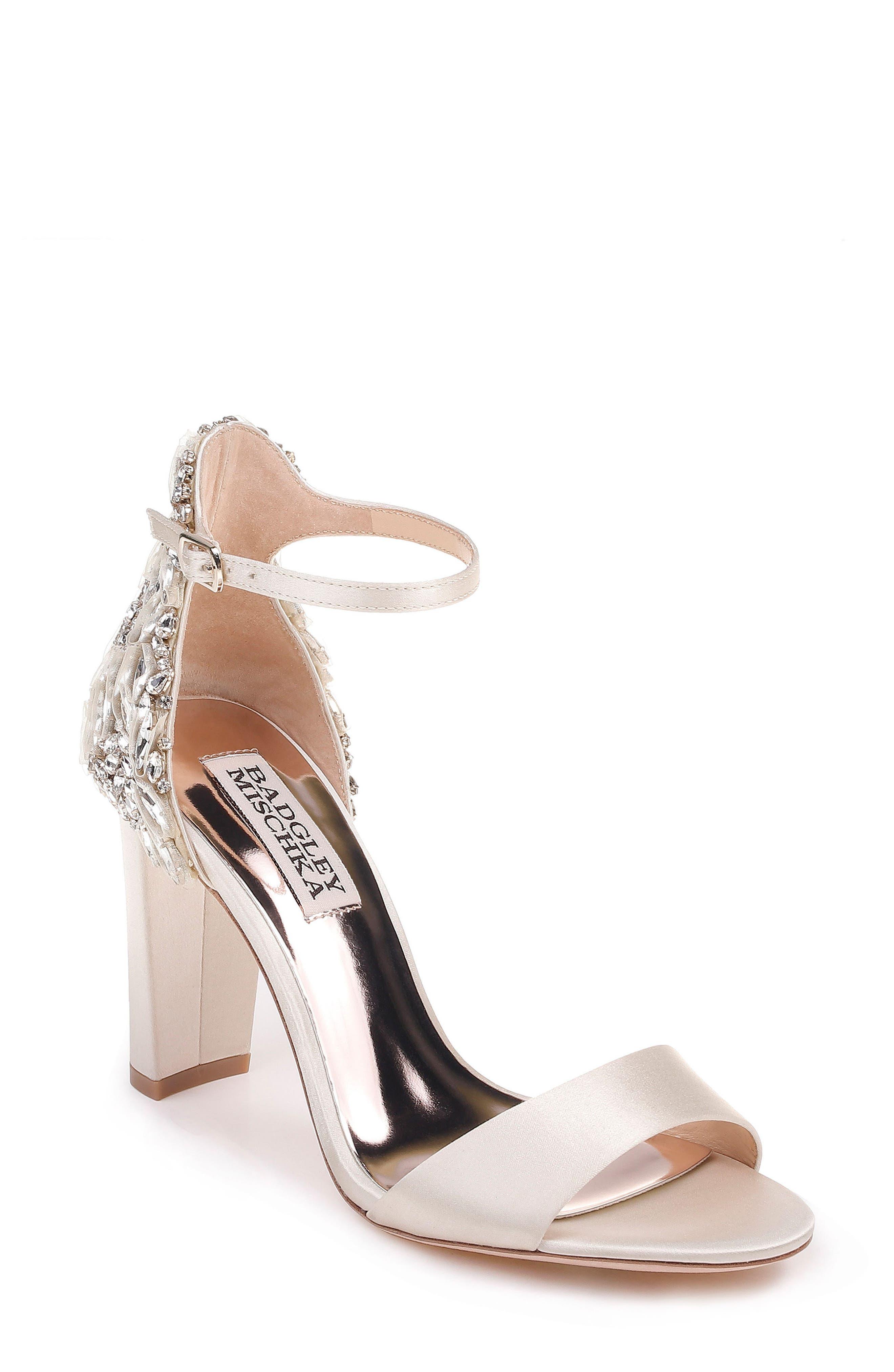 Badgley Mischka Seina Ankle Strap Sandal, Main, color, 100
