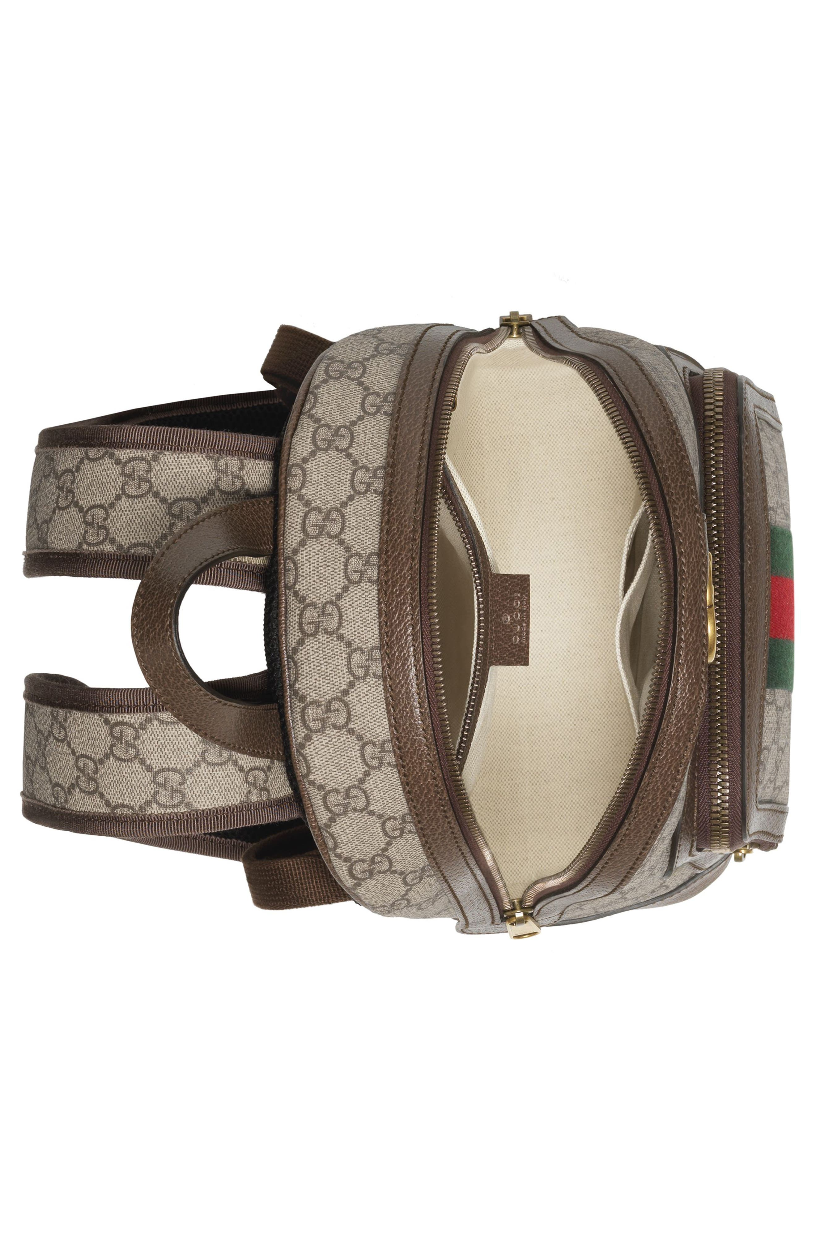 Small Ophidia GG Supreme Canvas Backpack,                             Alternate thumbnail 3, color,                             BEIGE EBONY/ NEW ACERO