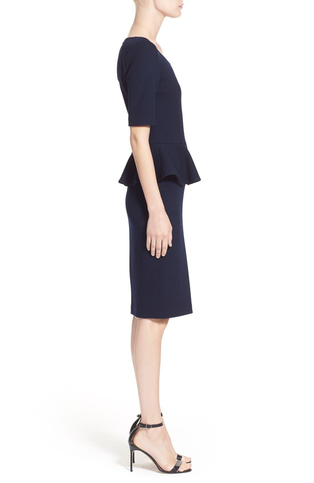 Peplum Milano Piqué Knit Dress,                             Alternate thumbnail 2, color,                             400