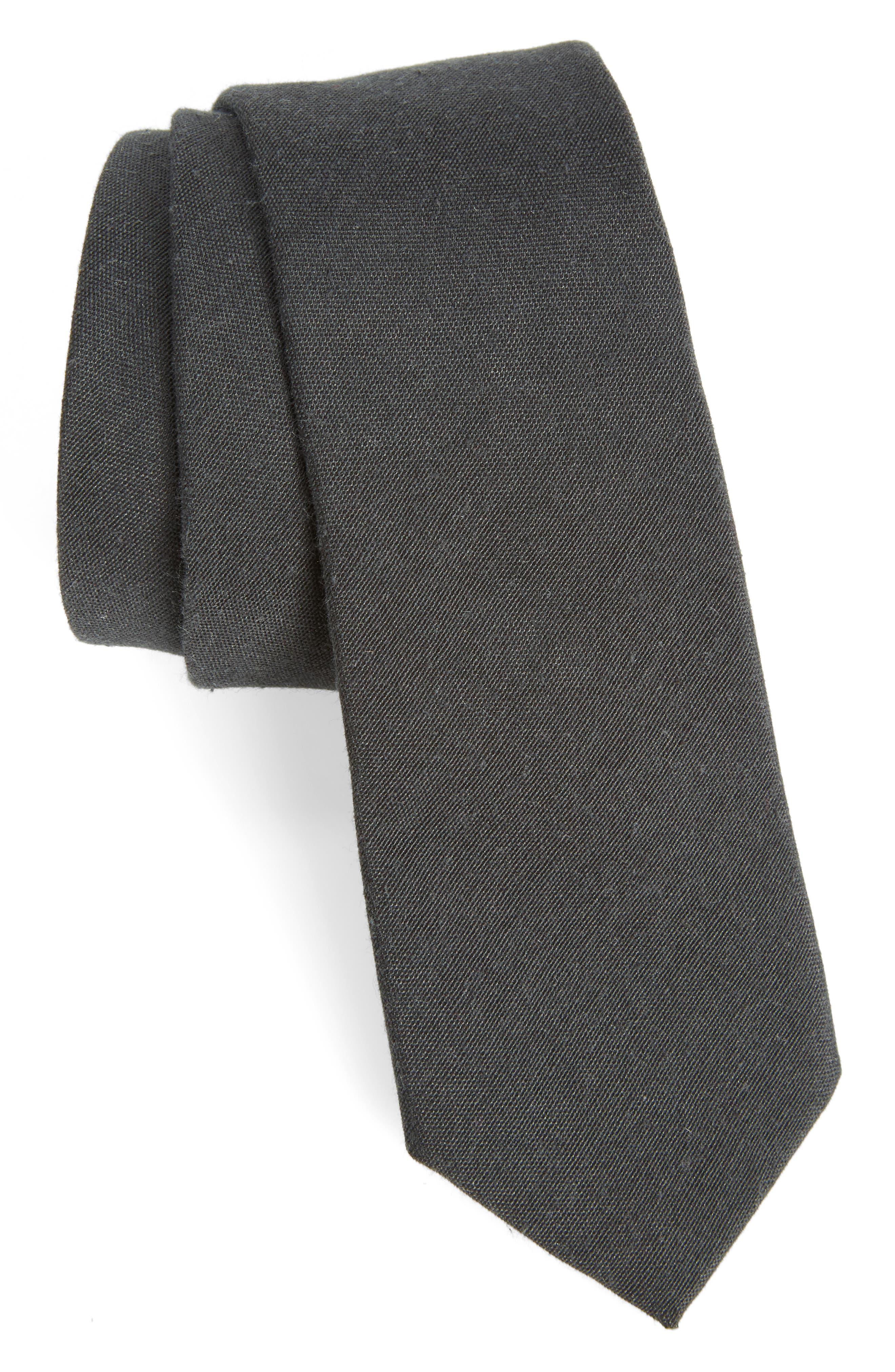 Solid Tie,                             Main thumbnail 1, color,                             BLACK