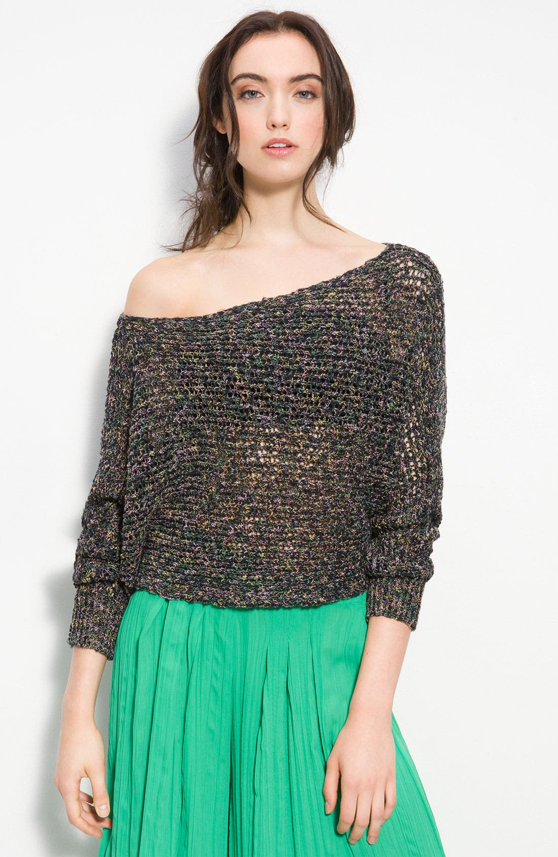 Slouchy Open Knit Cropped Sweater,                             Main thumbnail 1, color,                             001